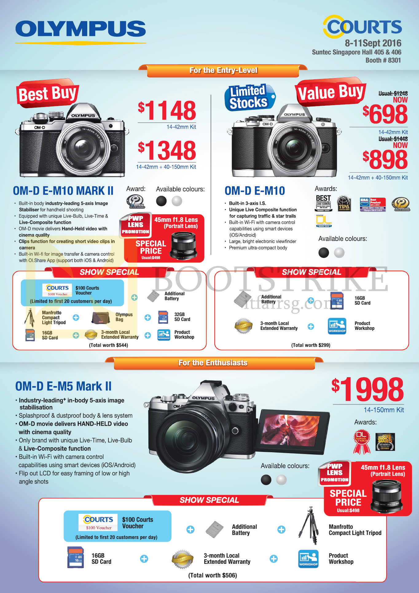 COMEX 2016 price list image brochure of Olympus Digital Cameras OM-D E-M10, Mark II, Om-D E-M5 Mark II