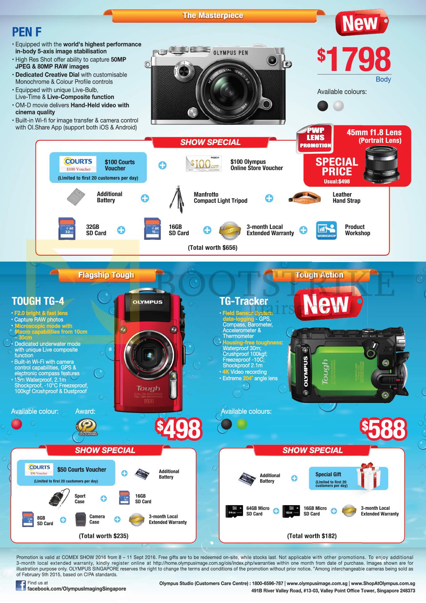 COMEX 2016 price list image brochure of Olympus Digital Cameras Pen F, Tough TG-4, TG-Tracker
