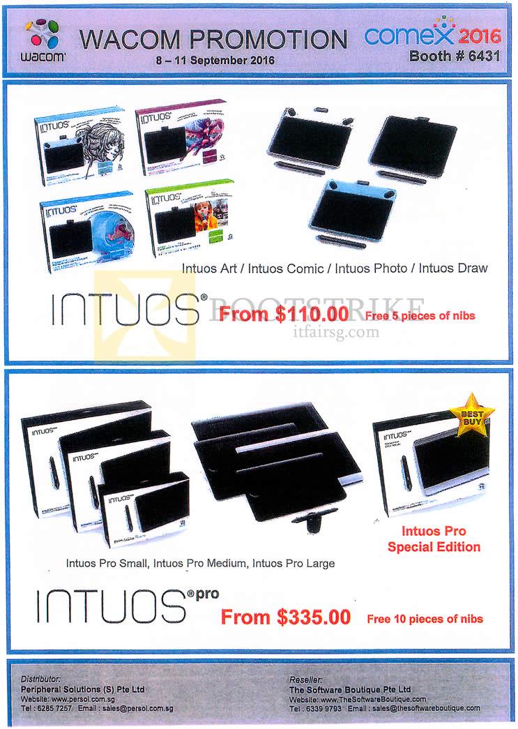 COMEX 2016 price list image brochure of Peripheral Solutions Wacom Nibs Intuos, Intuos Pro