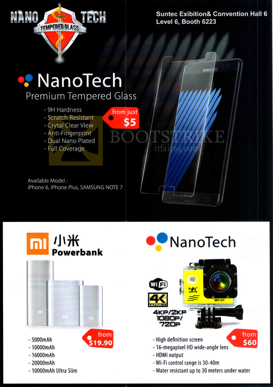 COMEX 2016 price list image brochure of Philippie Jourdan NanoTech Tempered Glass Screen Protector, Mi Powerbank, NanoTech