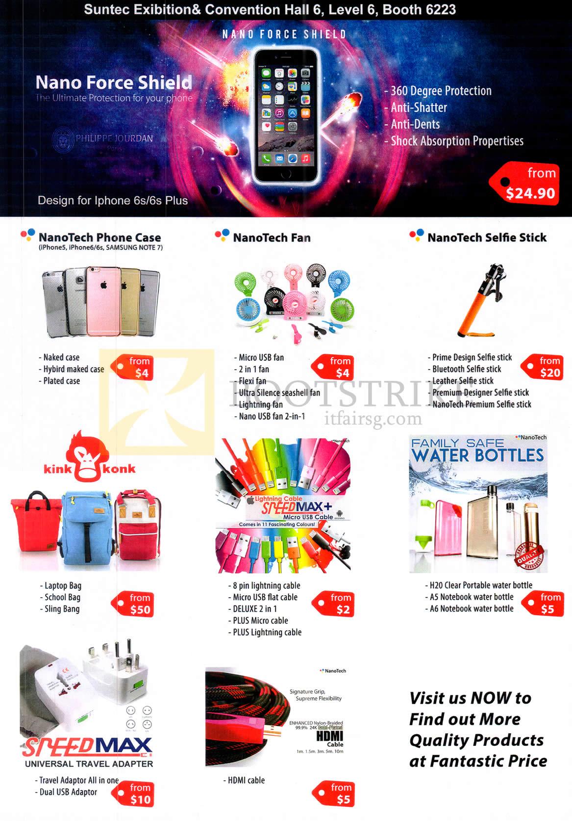 COMEX 2016 price list image brochure of Philippie Jourdan Phone Case, NanoTech Fan, Selfie Stick, Lightning Cables, Water Bottles, Adapter