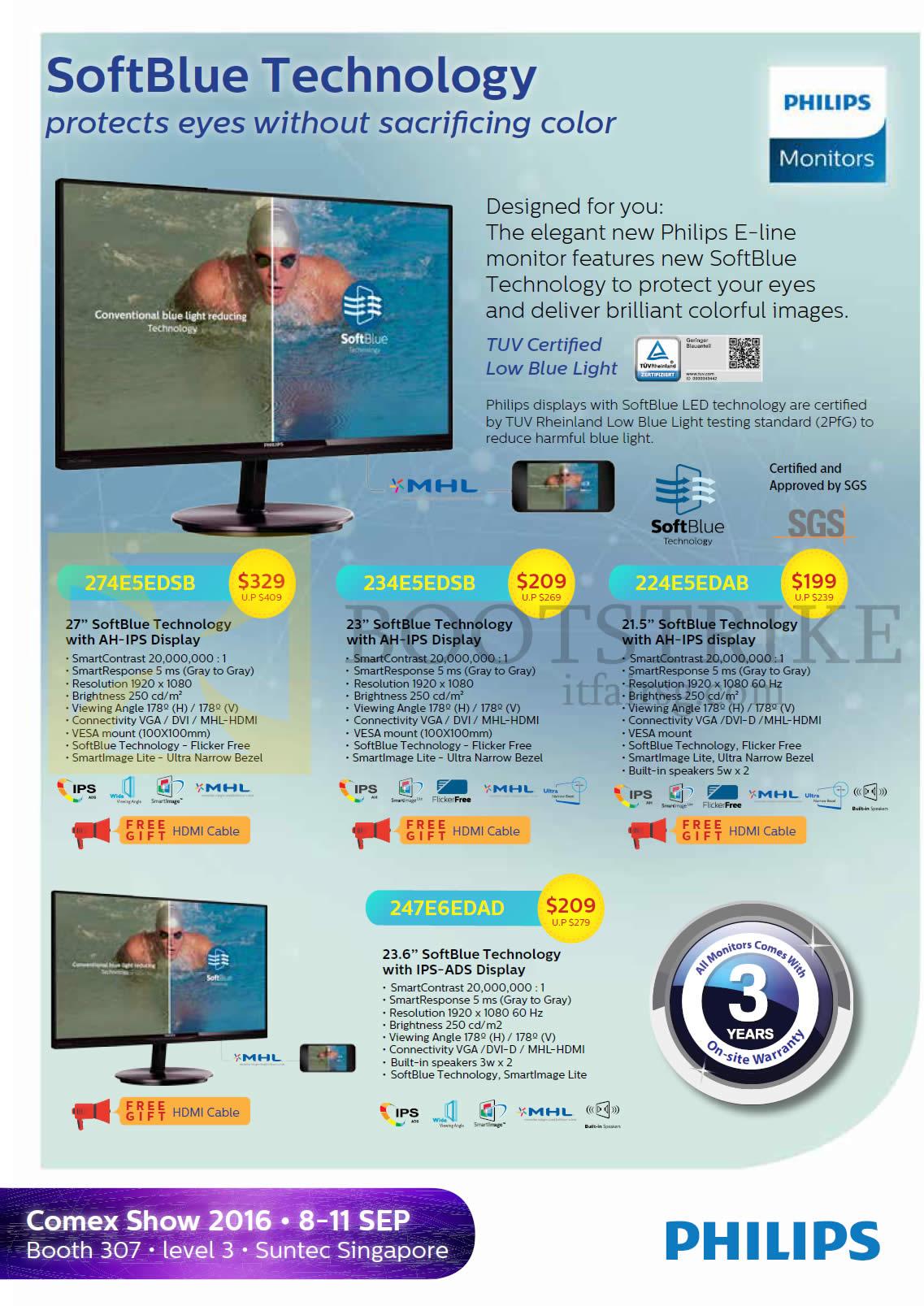 COMEX 2016 price list image brochure of Philips Newstead Monitors AH-IPS IPS-ADS 274E5EDSB, 234E5EDSB, 224E5EDAB, 247E6EDAD