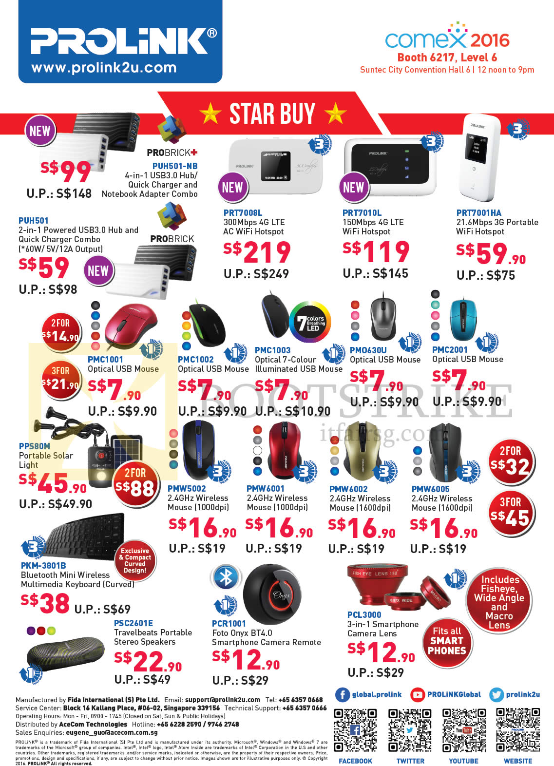 COMEX 2016 price list image brochure of Prolink Accessories Star Buys Wifi Hotspot, Mouse, Portable Solar Light, Keyboards, Camera Remote, Camera Lens