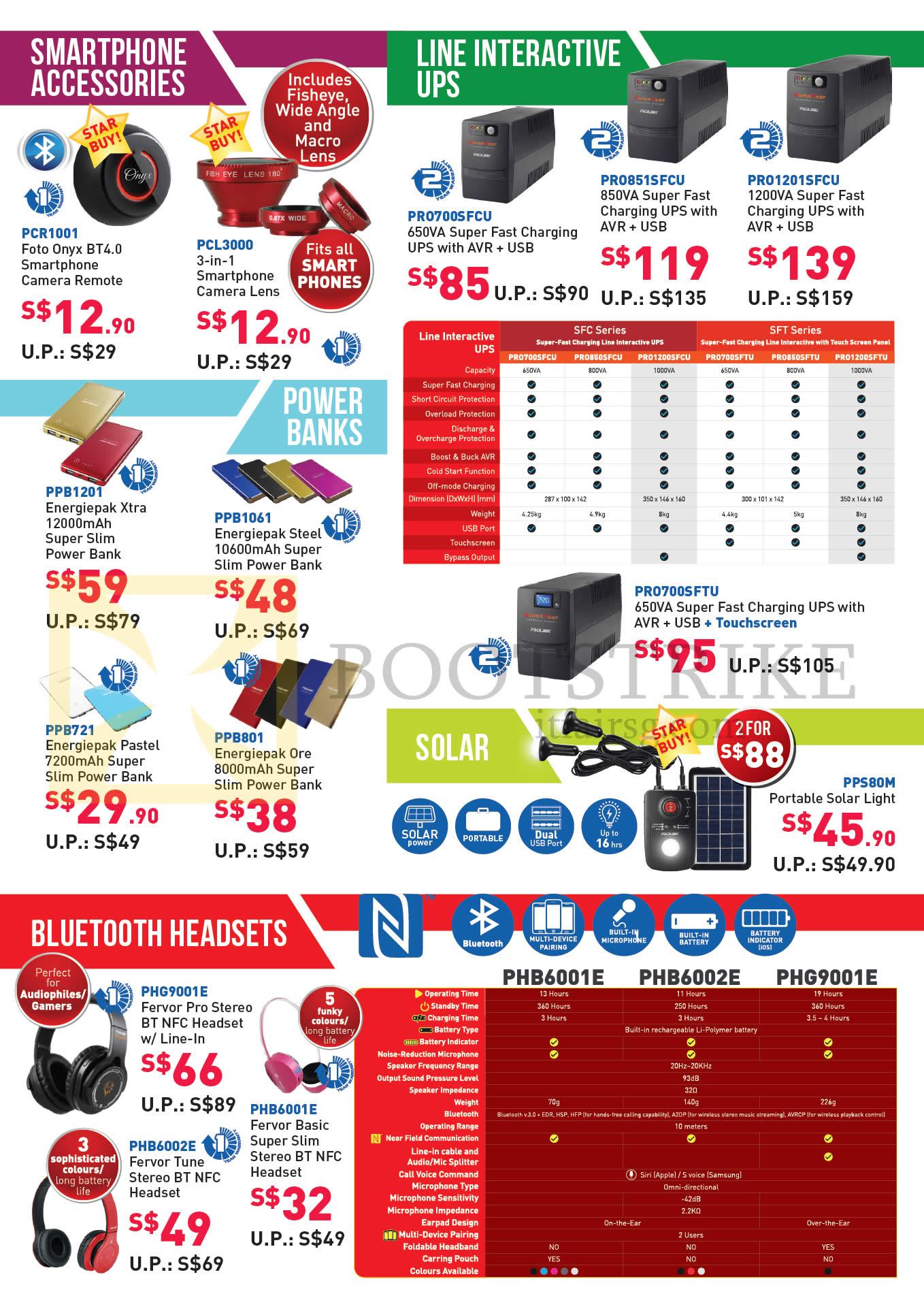 COMEX 2016 price list image brochure of Prolink Smartphone Accessories, Line Interactive UPS, Power Banks, Bluetooth Headsets, PCR1001, PCL3000, PRO7005FCU, PRO8515FCU, PRO12015FCU, PPB1201