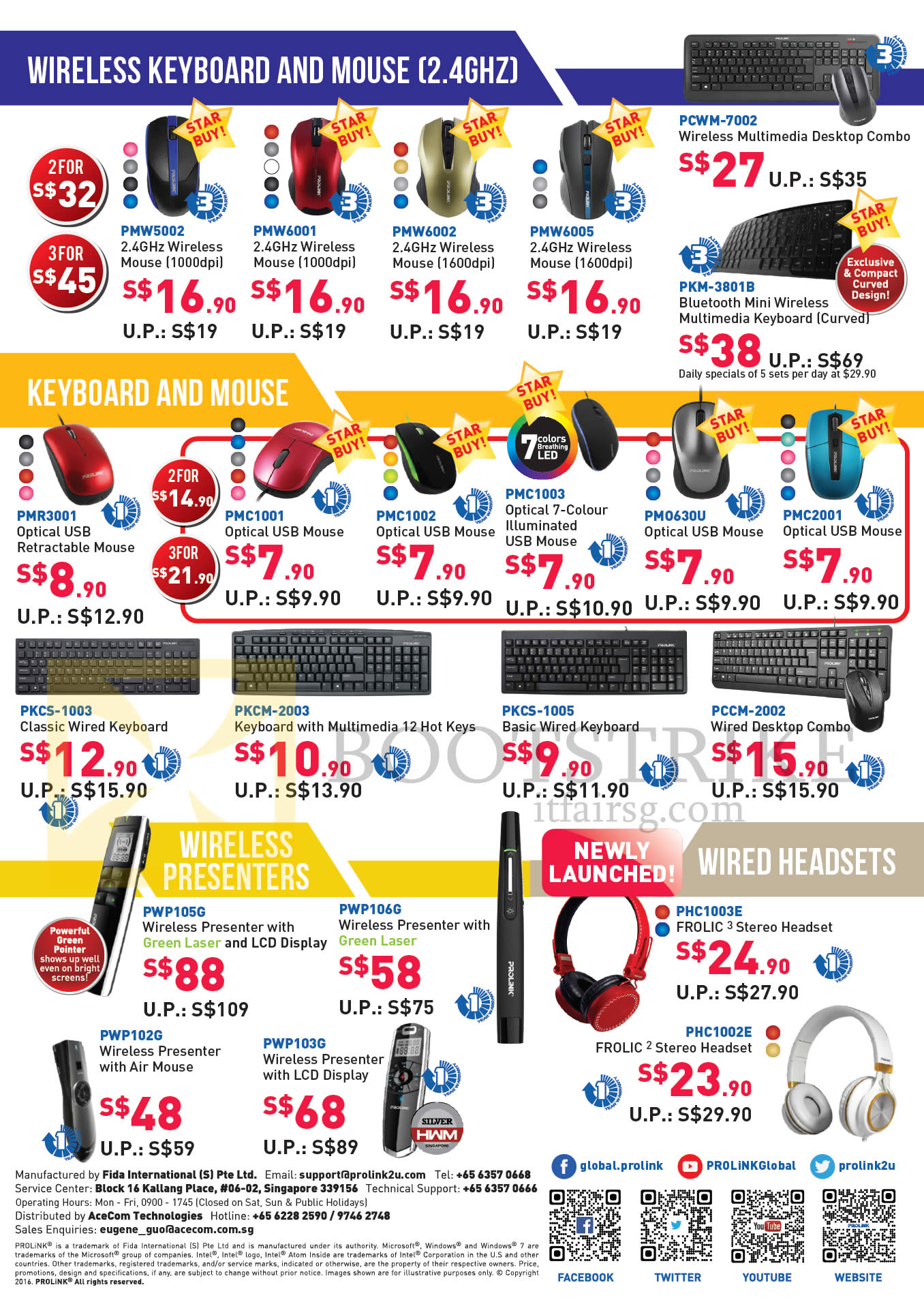 COMEX 2016 price list image brochure of Prolink Wireless Keyboard, Mouse, Presenters, Headsets, PMW5002, 6001, 6002, 6005, PKM-3801B, PMR3001, PKCS-1003, 1005, PCCM-2002, PWP105G, 106G, 102G, 103G