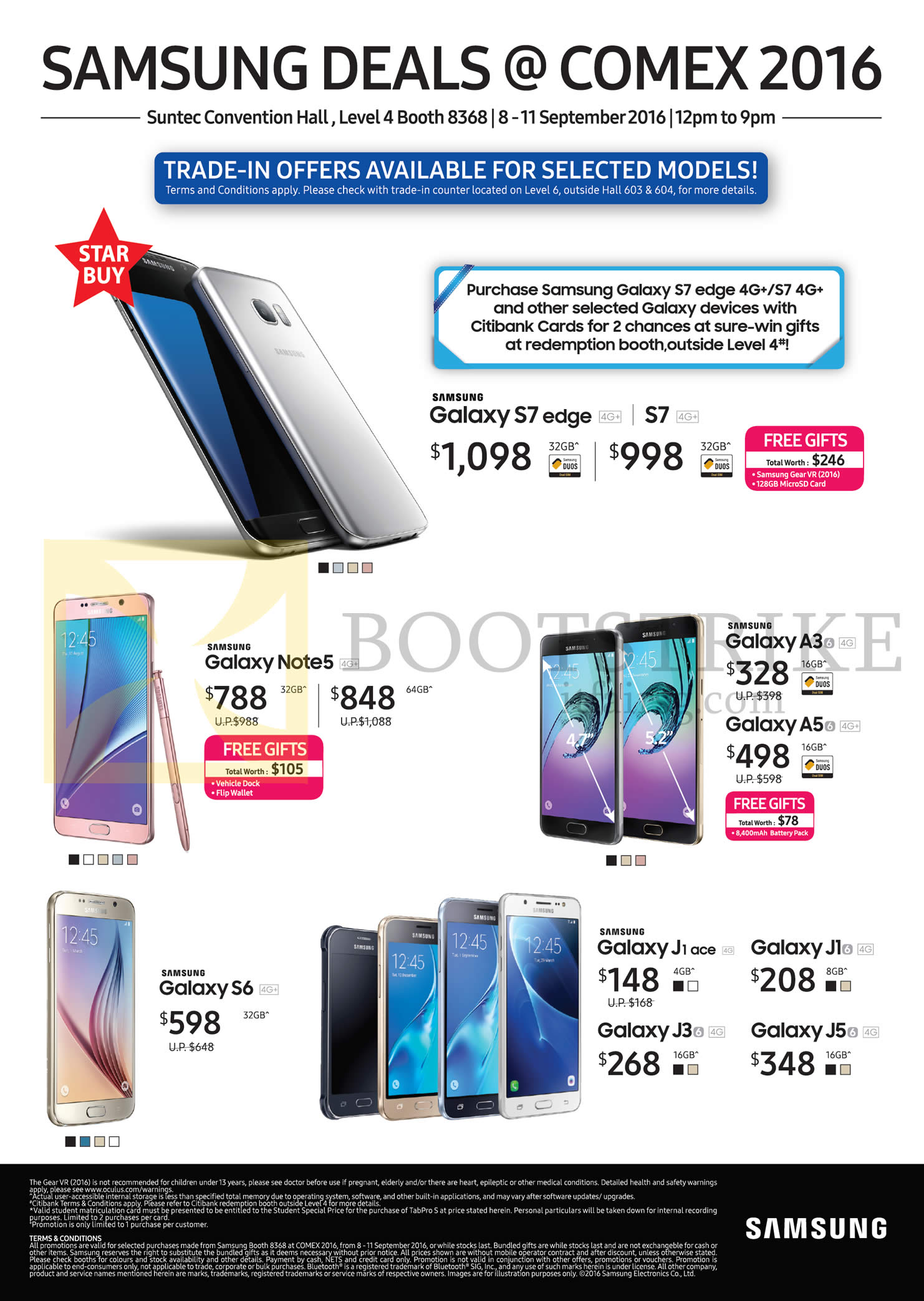 COMEX 2016 price list image brochure of Samsung Mobile Phones Galaxy S7, S7 Edge, Note 5, A3, S6, J1 Ace, J1, J3, J5