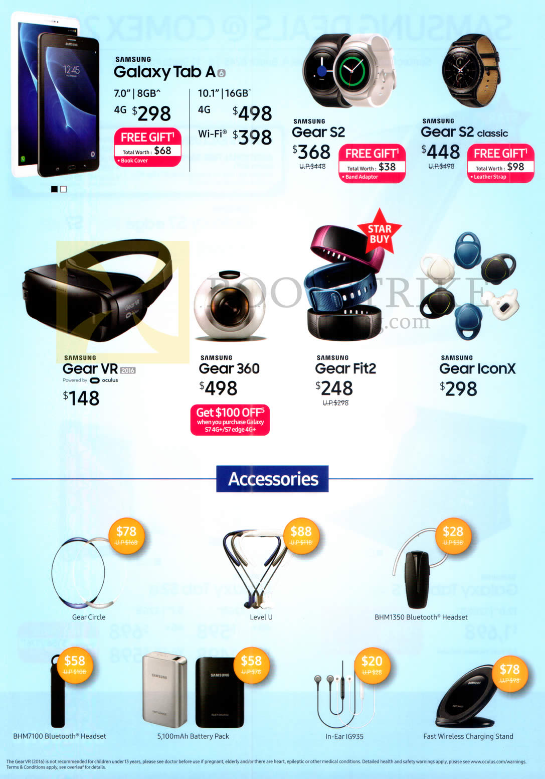 COMEX 2016 price list image brochure of Samsung Mobile SmartPhones, Fitness Watches, Accessories, Galaxy Tab A, Gear S2, S2 Classic, VR, 360, Fit2, IconX, Gear Circle, Headset, Battery Pack, Charging Stand