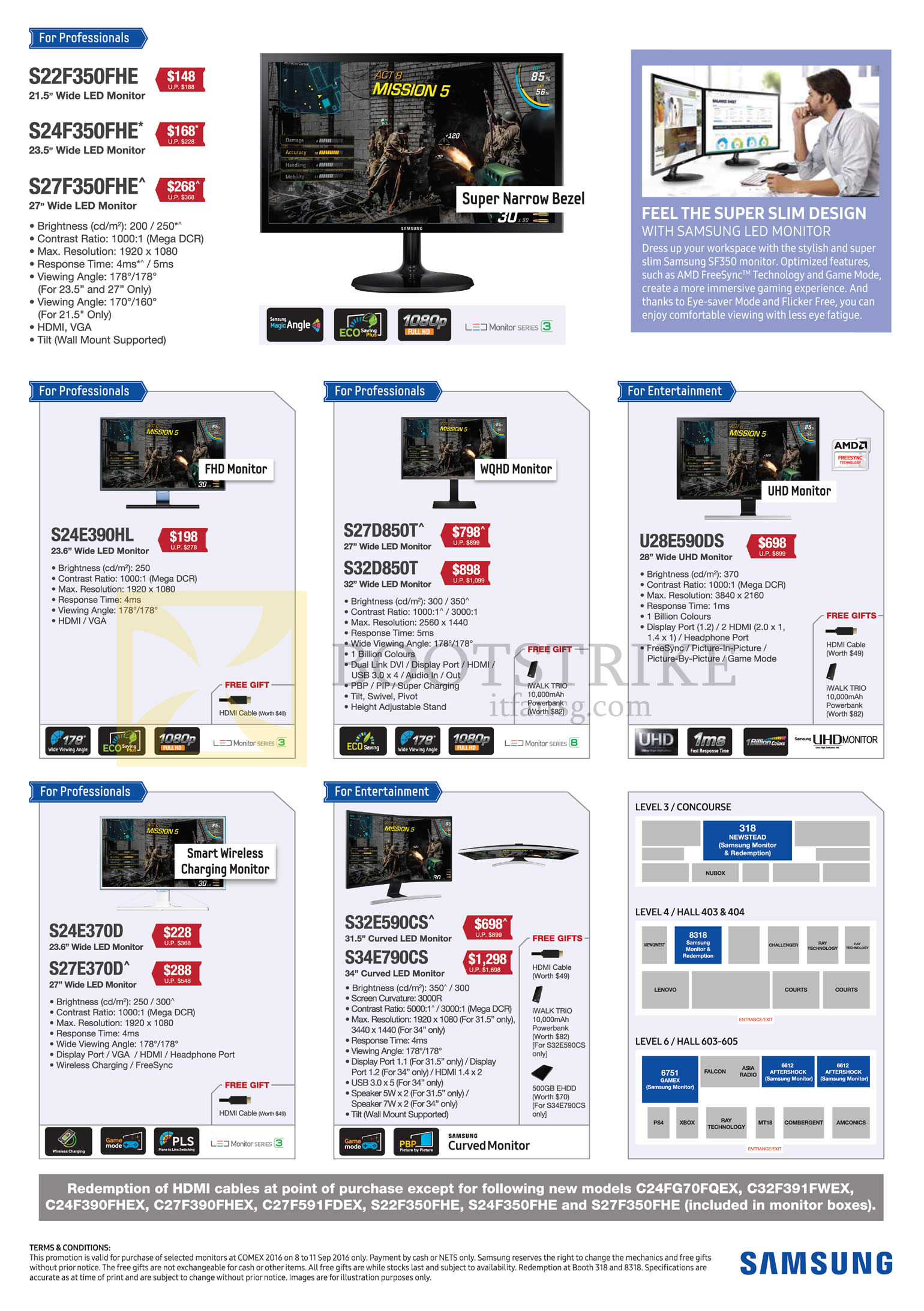 COMEX 2016 price list image brochure of Samsung Monitors LED S22F350FHE, S24F350FHE, S27F350FHE, S24E390HL, S27D850T, S32D850T, U28E590DS, S24E370D, S27E370D, S32E590CS, S34E790CS