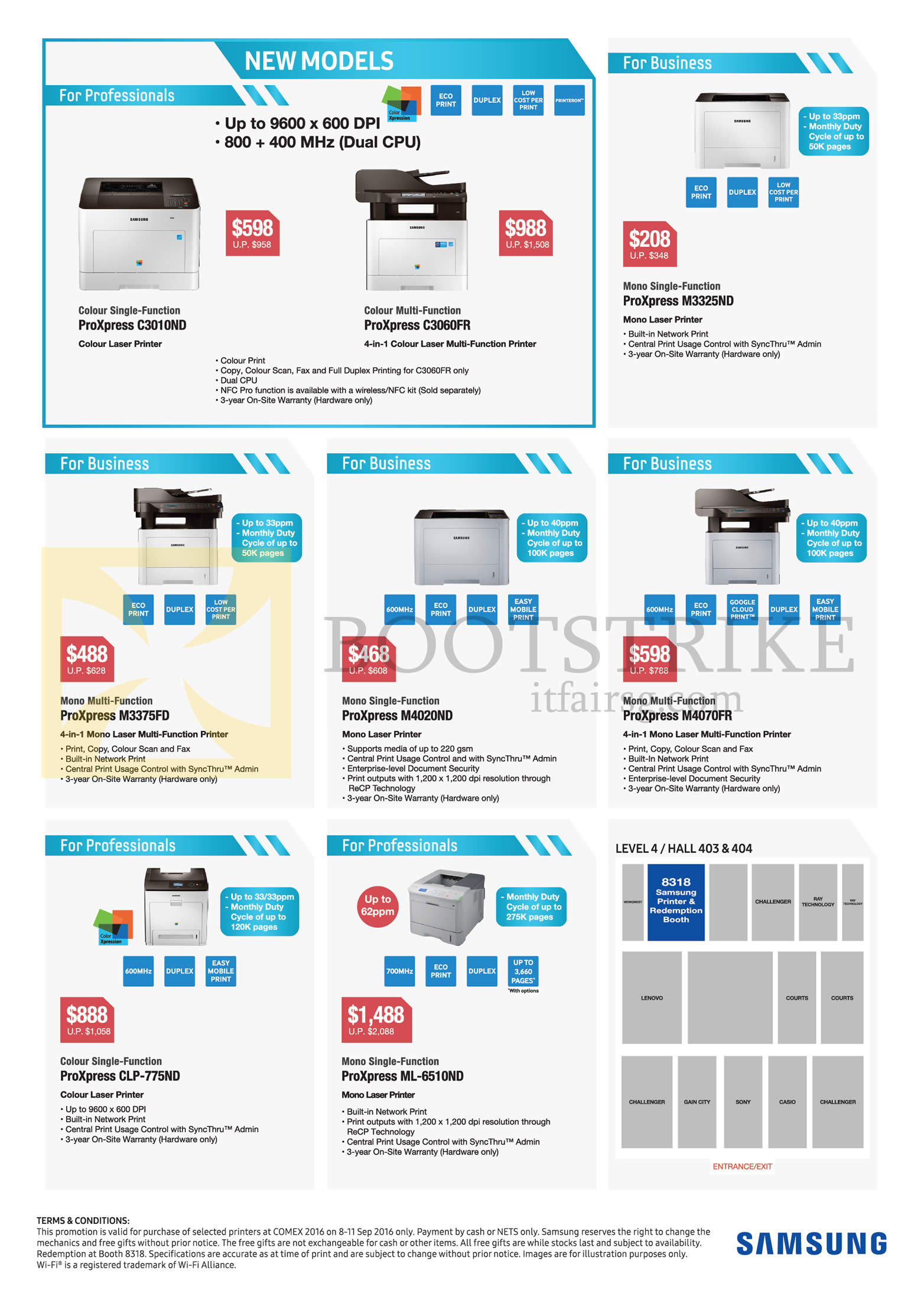 COMEX 2016 price list image brochure of Samsung Printers Laser ProXpress C3010ND, C3060FR, M3325ND, M3375FD, M4020ND, M4070FR, CLP-775ND, ML-6510ND