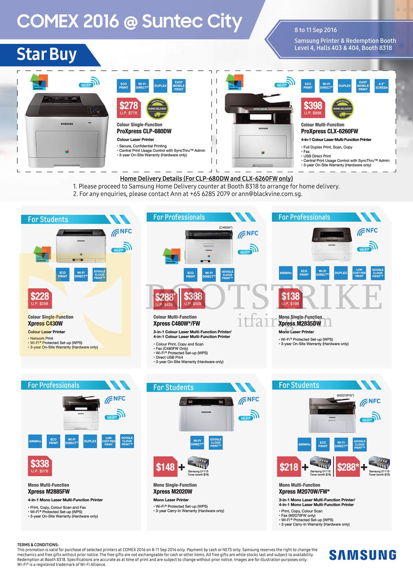 COMEX 2016 price list image brochure of Samsung Printers Laser ProXpress CLP-680DW, CLX-6260FW, Xpress C430W, C480W, M2835DW, M2885FW, M2020W, M2070W, FW
