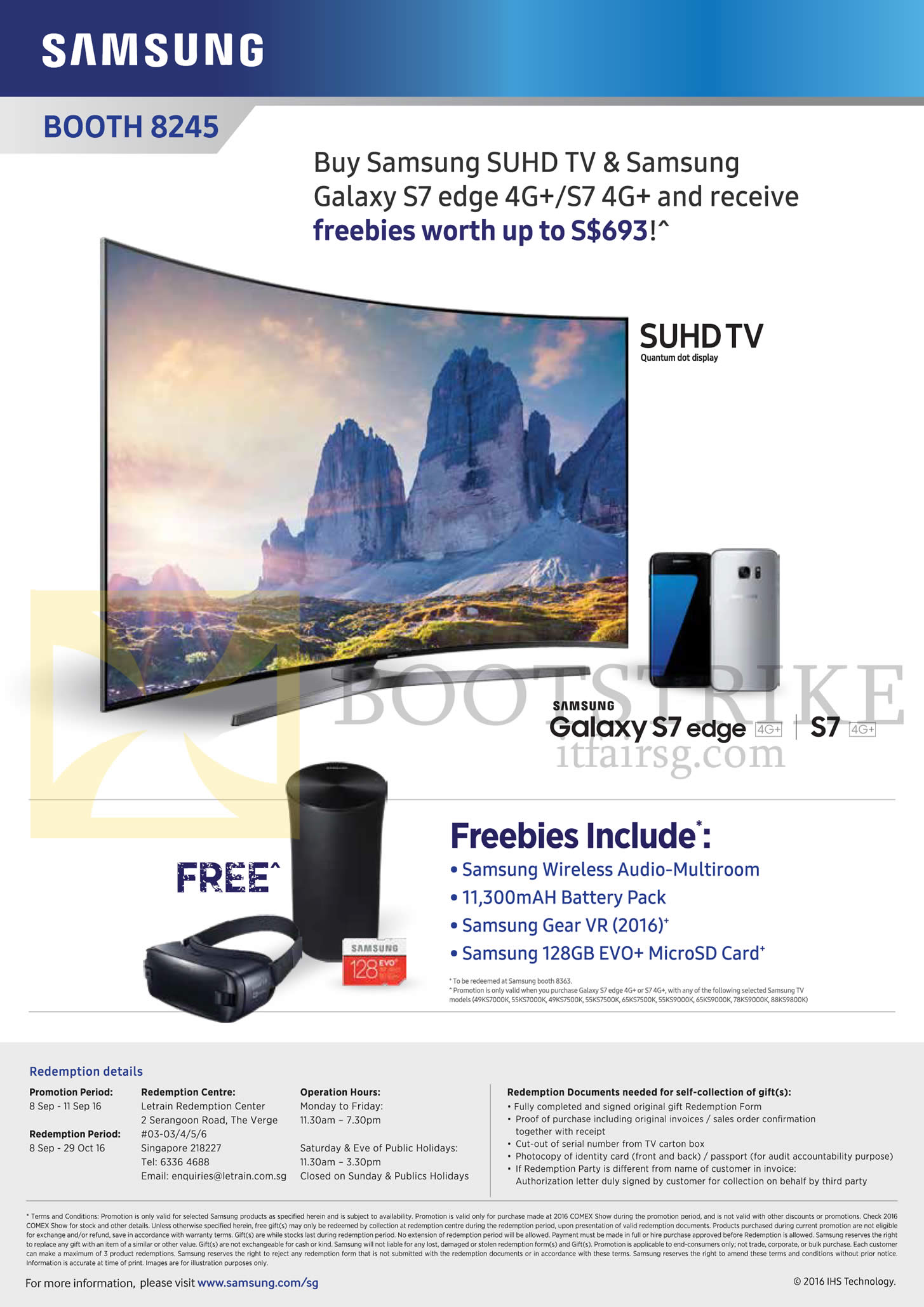 COMEX 2016 price list image brochure of Samsung TV (No Prices) Galaxy S7 Edge, Free Items With Purchase