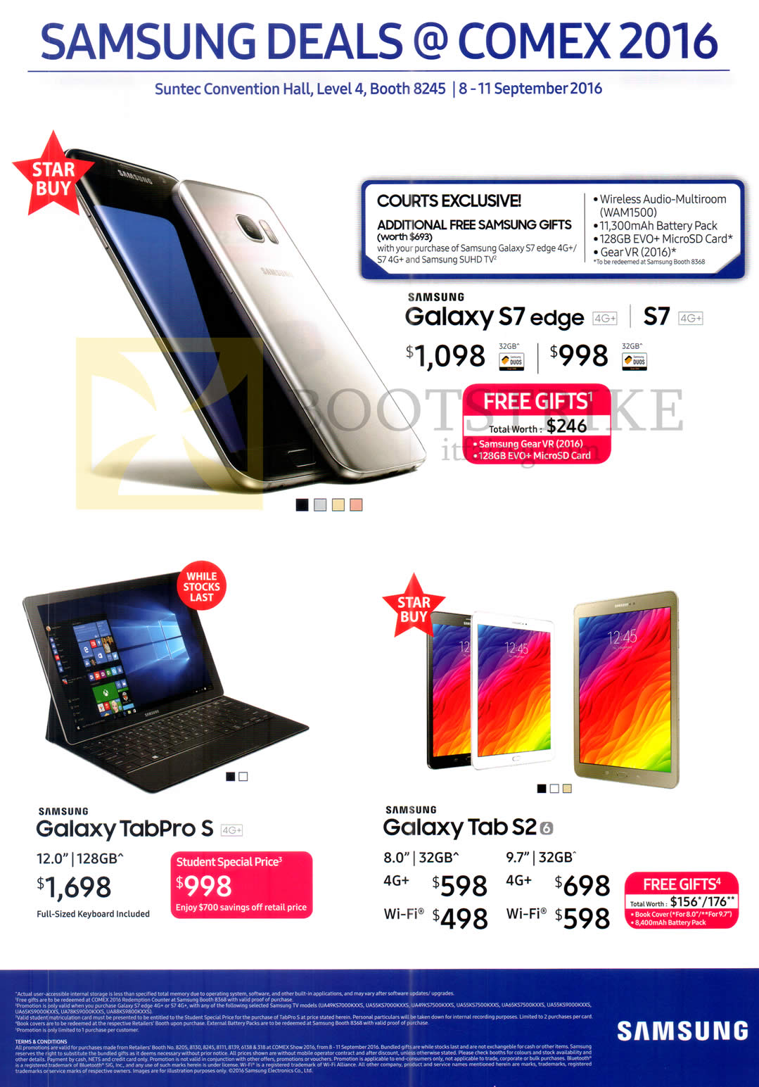 COMEX 2016 price list image brochure of Samsung Tablet, Mobile SmartPhone, Galaxy S7, S7 Edge, TabPro S, Tab S2