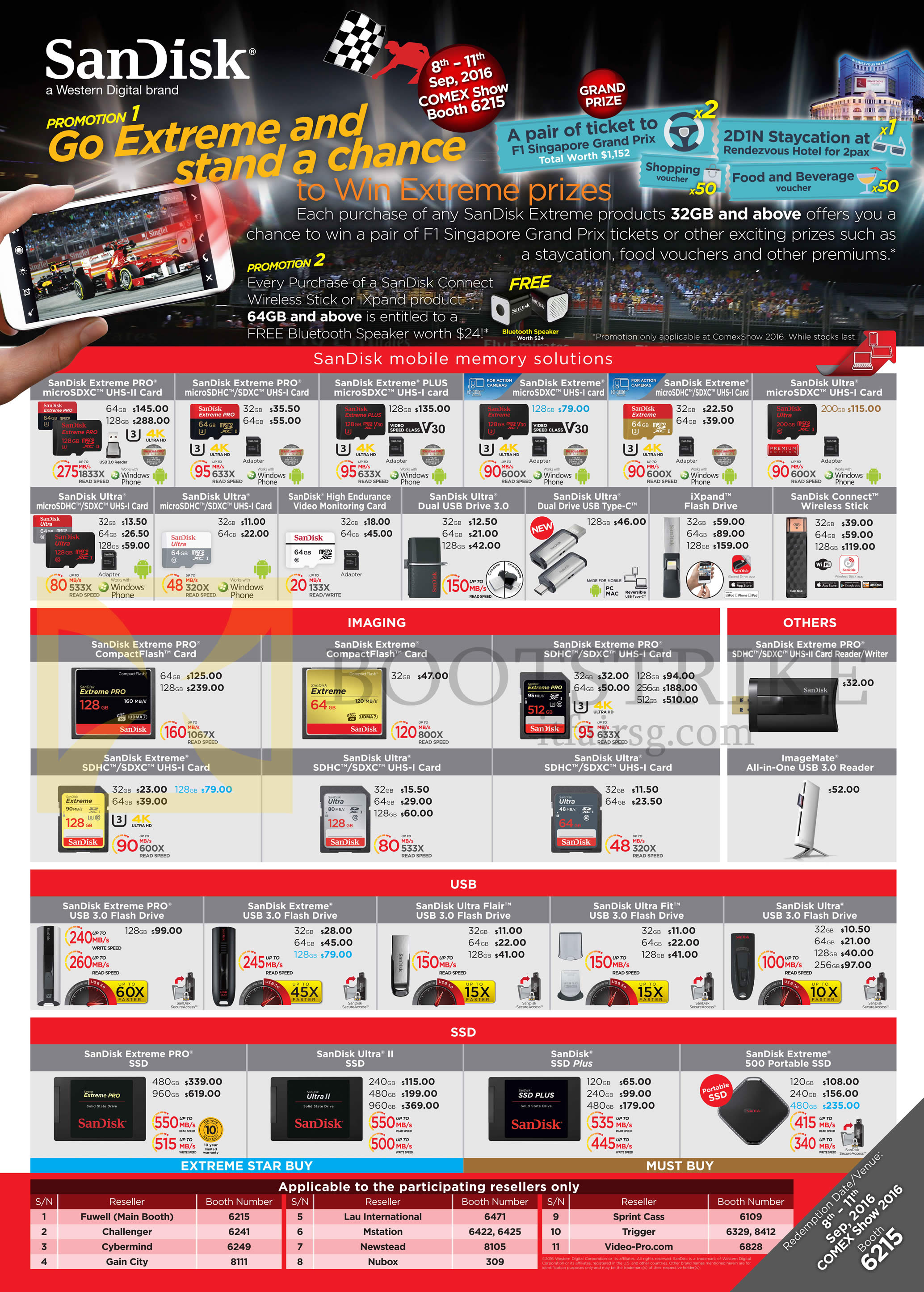 COMEX 2016 price list image brochure of Sandisk Memory Cards, USBs, SSDs, ExtremePRO, Plus, Ultra, Connect, IXpand, ImageMate, Sandisk Ultra Flair, Fit, Ultra II, SSD Plus, 500 Portable SSD
