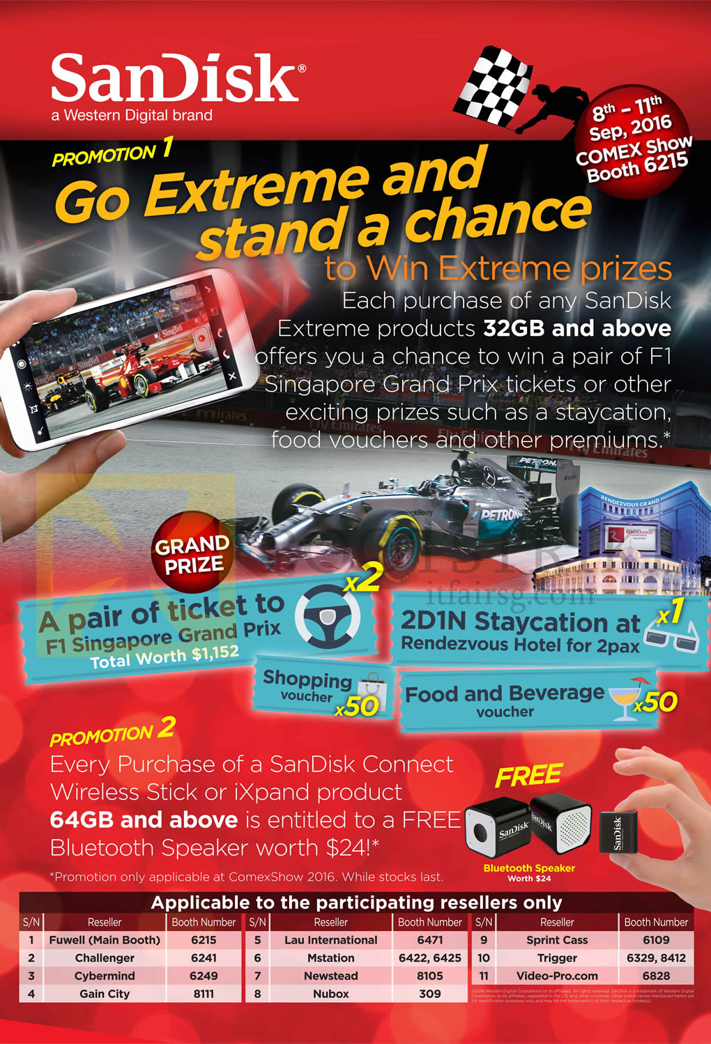 COMEX 2016 price list image brochure of Sandisk Prizes, Promotions, Resellers, Booths