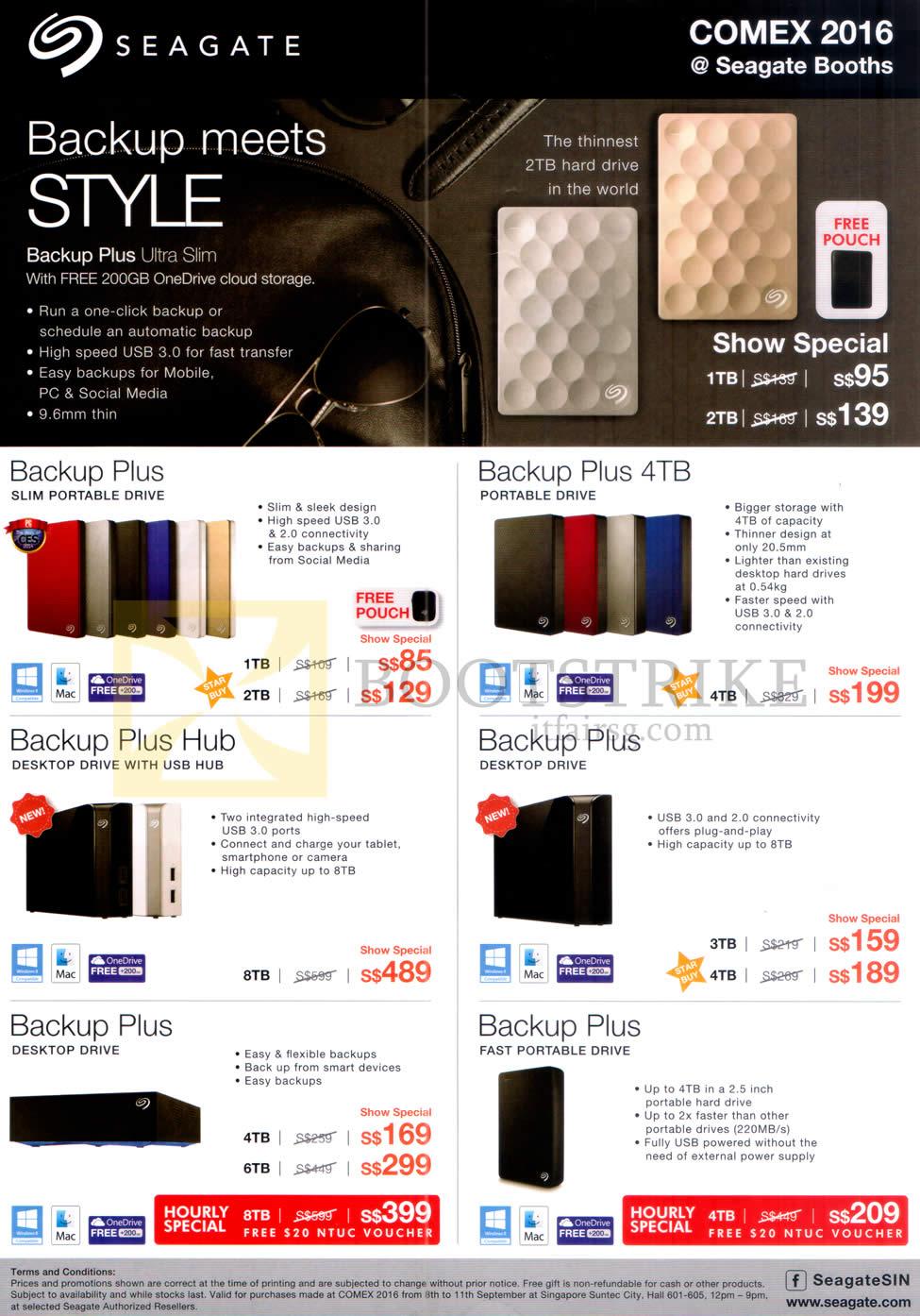 COMEX 2016 price list image brochure of Seagate External Storage Drive Backup Plus, 4TB, Hub, Desktop Drive, Fast Portable Drive, 1TB, 2TB, 3TB, 4TB, 6TB, 8TB