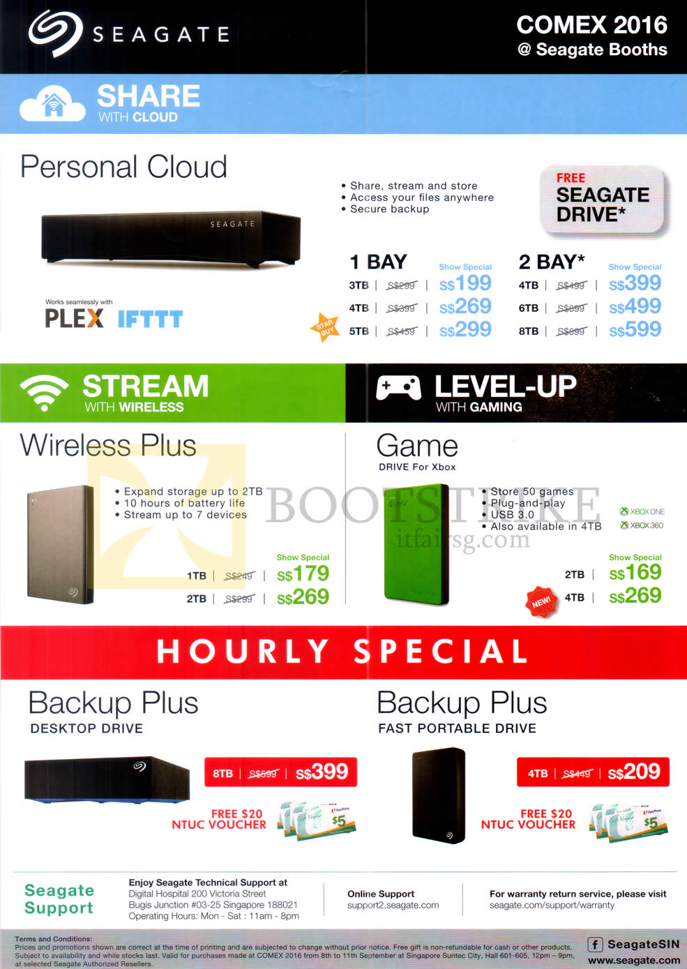 COMEX 2016 price list image brochure of Seagate NAS Personal Cloud External Storage, Wireless Plus, Game Drive, Backup Plus Desktop Drive, Fast Portable Drive, 1 Bay, 2 Bay, 1TB, 2TB, 3TB, 4TB, 5TB, 6TB, 8TB