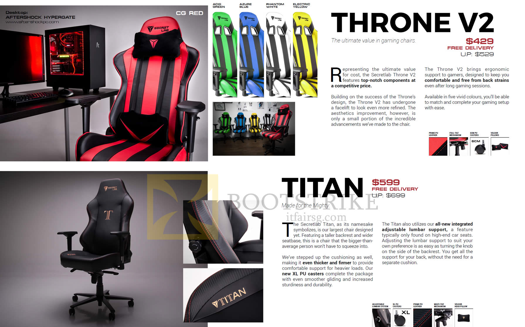 COMEX 2016 price list image brochure of Secretlab Chairs Throne V2, Titan
