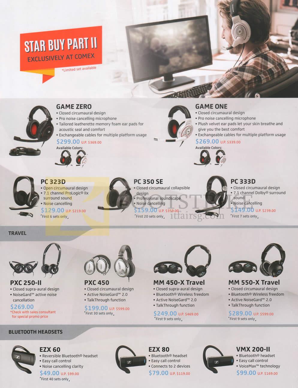 COMEX 2016 price list image brochure of Sennheiser Headphones, Bluetooth Headsets, Game Zero, One, PC 323D, 350 SE, 333D, PXC 250-II, 450, MM 450-X Travel, 550-X Travel, EZX 60, 80, VMX 200-II