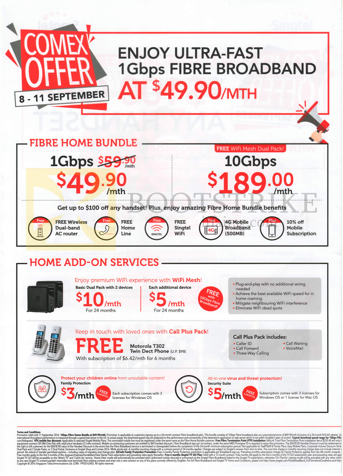 COMEX 2016 price list image brochure of Singtel Fibre Home Bundle, Home Add-On Services, 49.90 1Gbps, 189.00 10Gbps Fibre Home Bundles