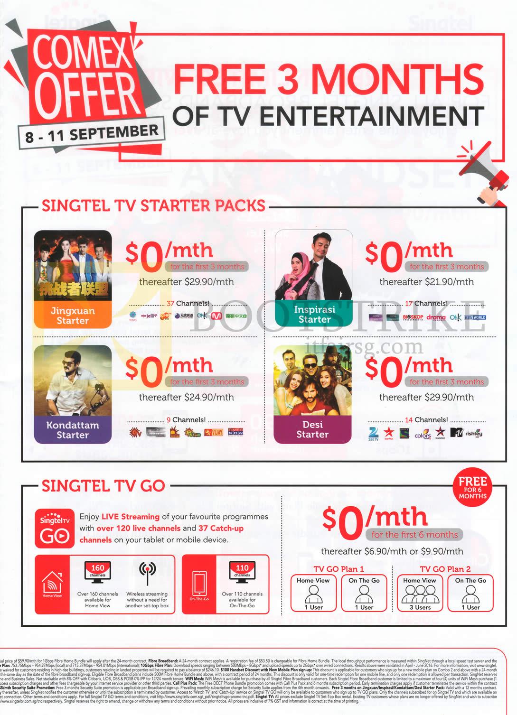 COMEX 2016 price list image brochure of Singtel TV Starter Packs, TV Go, Jingxuan Starter, Inspirasi Starter, Kondattam Starter, Desi Starter, TV Go Plan 1, 2