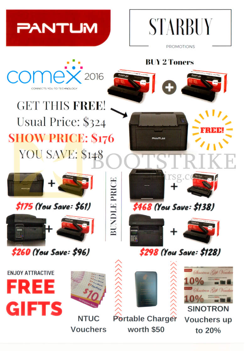 COMEX 2016 price list image brochure of Sinotron Pantum Printer Purchase Free Gifts