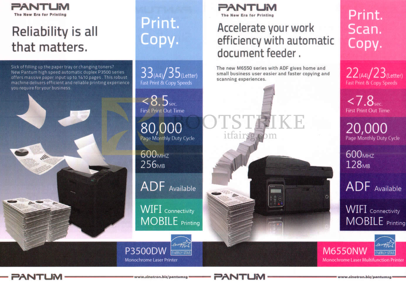 COMEX 2016 price list image brochure of Sinotron Pantum Printers P3500DW, M6550NW