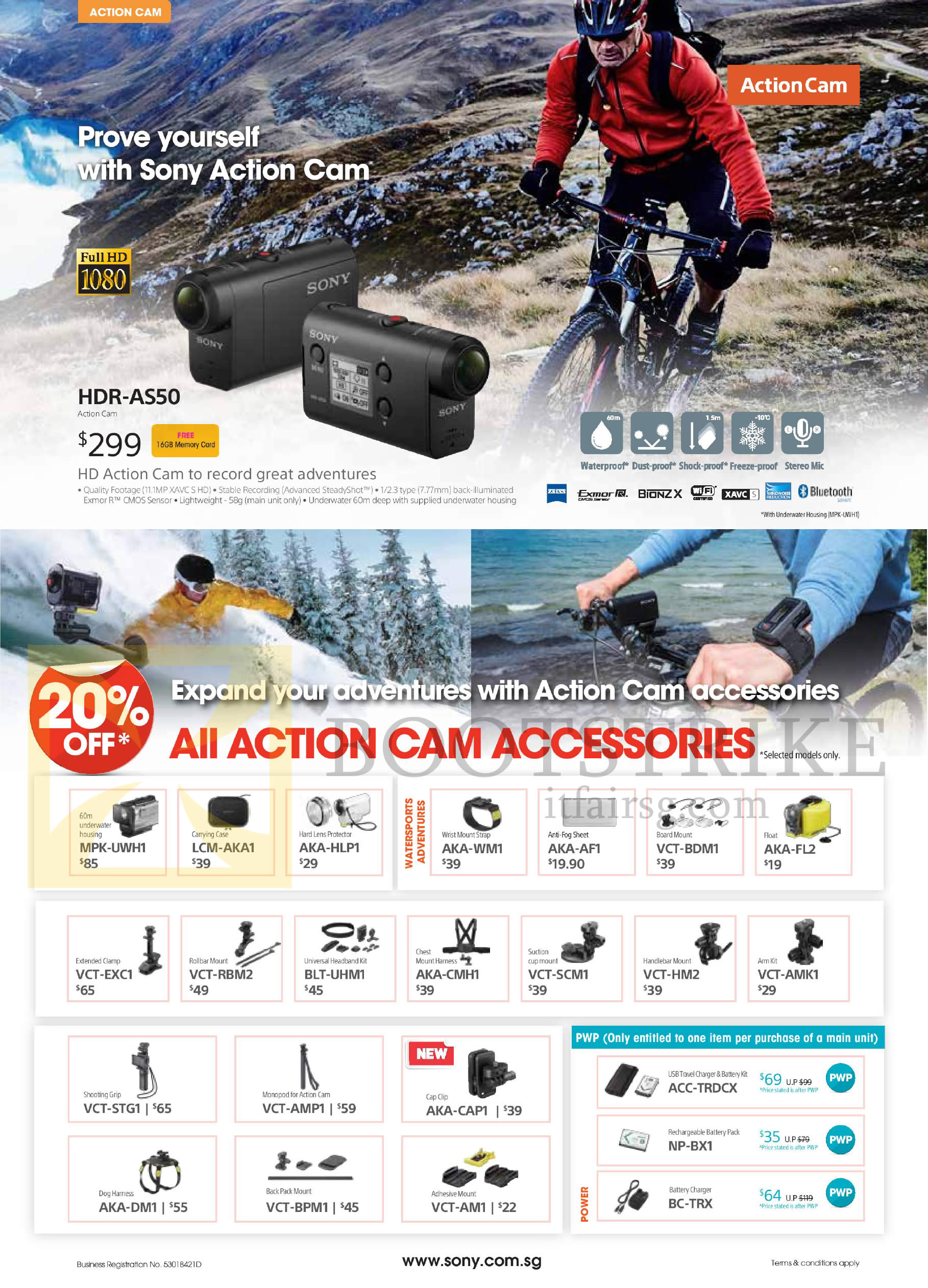 COMEX 2016 price list image brochure of Sony Action Cam, Accessories, HDR-AS50, MPK-UWH1, LCM-AKA1, AKA-HLP1, VCT-EXC1, RBM2, BLT-UHM1, AKA-CMH1, VCT-SCM1, STG1, AMP1, AKA-CAP1, DM1