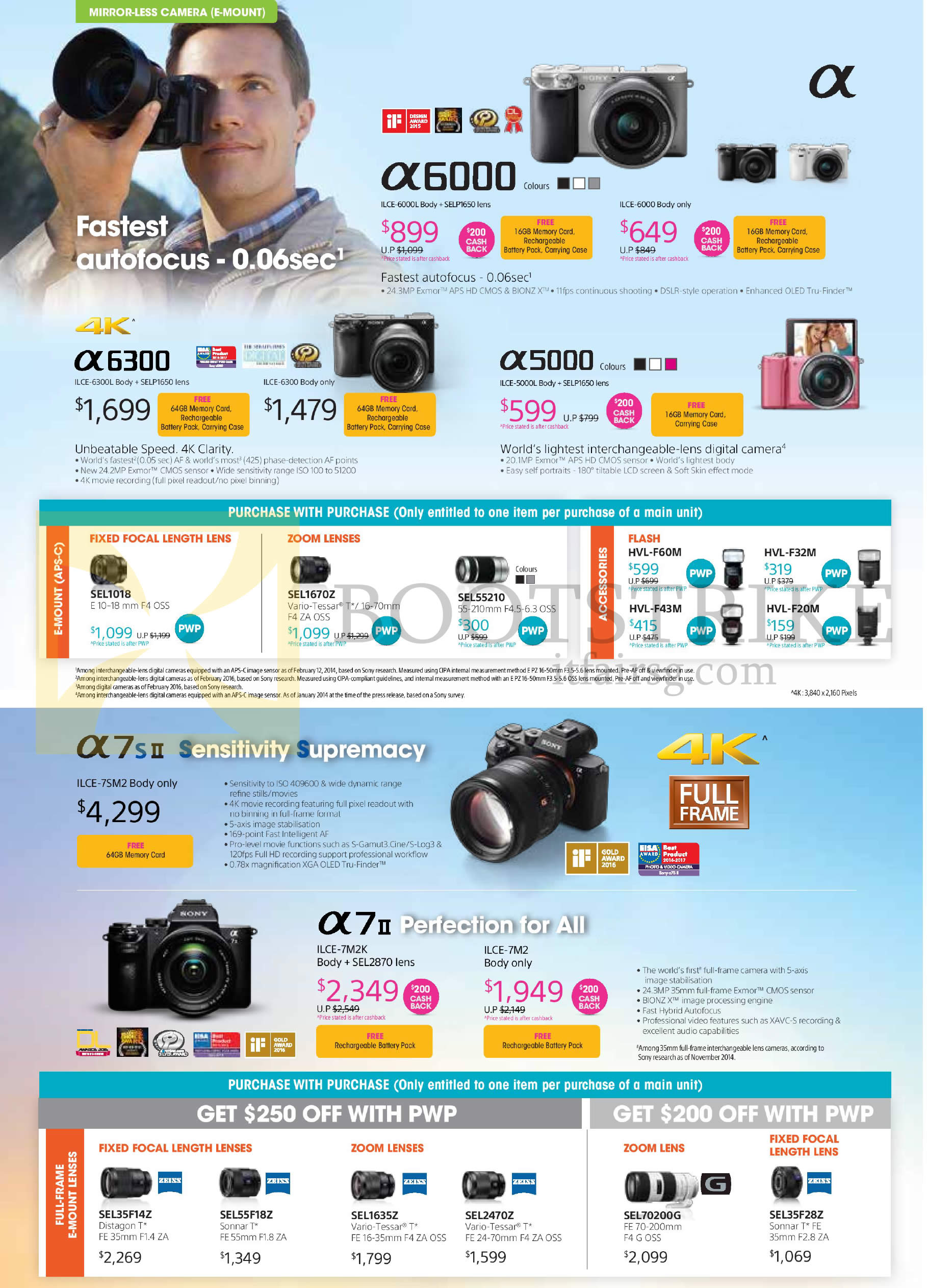 COMEX 2016 price list image brochure of Sony Mirrorless Digital Cameras, A6000, A6300, A5000, A7s II, A7 II, Purchase With Purchase Focal Length Lenses, Zoom Lenses