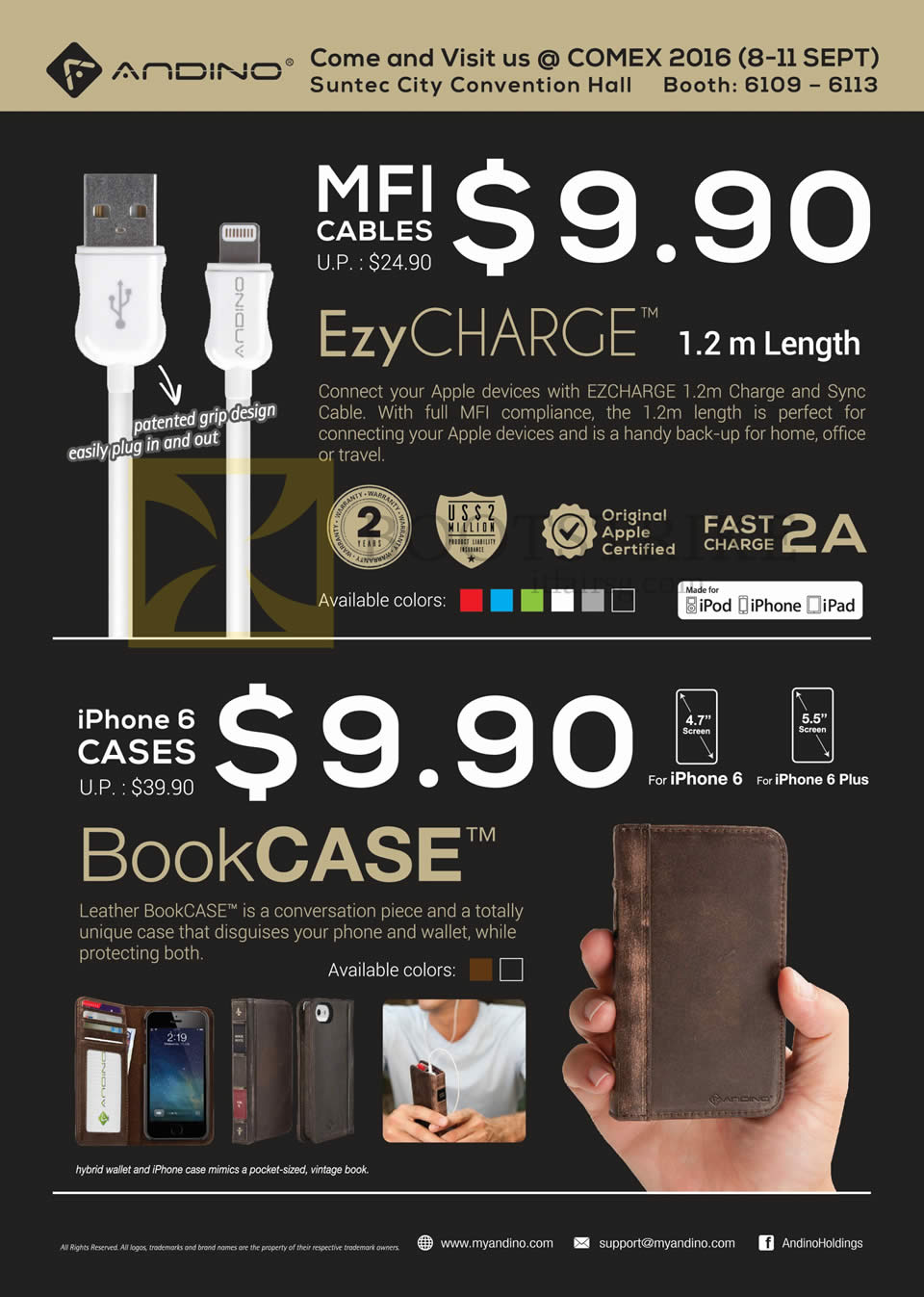 COMEX 2016 price list image brochure of Sprint-Cass Andino MFI Cables, IPhone 6 Cases, Ezy Charge, BookCase