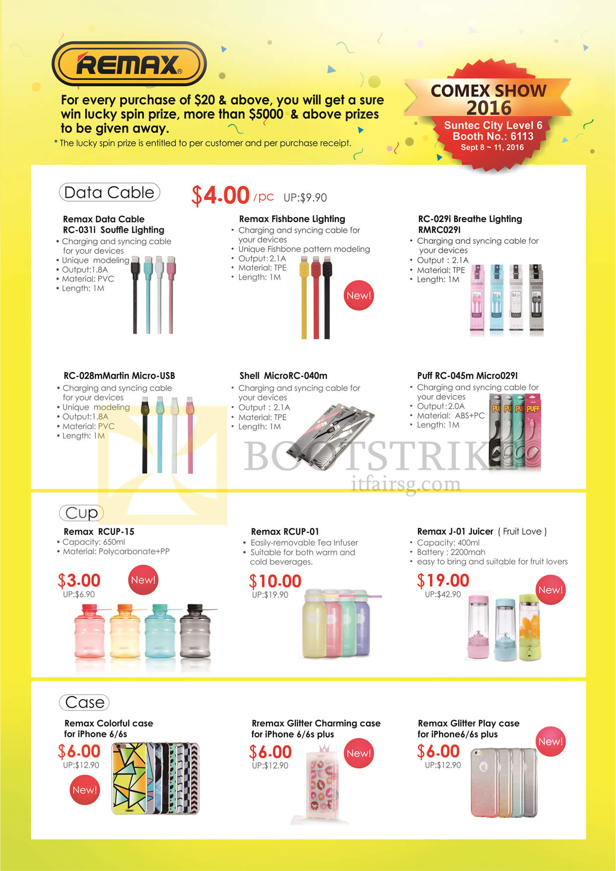 COMEX 2016 price list image brochure of Sprint-Cass Remax Data Cables, Lightning, Fishbone, Breathe, Case, Glitter, Play