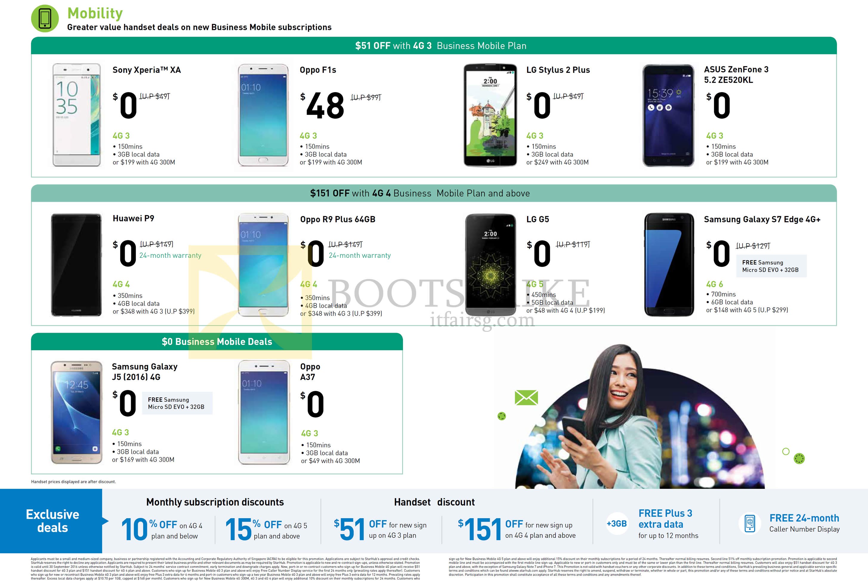 COMEX 2016 price list image brochure of StarHub Business Mobile Phones Sony Xperia XZ, Oppo F1s, R9 Plus, A37, LG Stylus 2 Plus, G5, Asus Zenfone 3 5.2 ZE520KL, Samsung Galaxy S7 Edge, J7 2016, Huawei P9