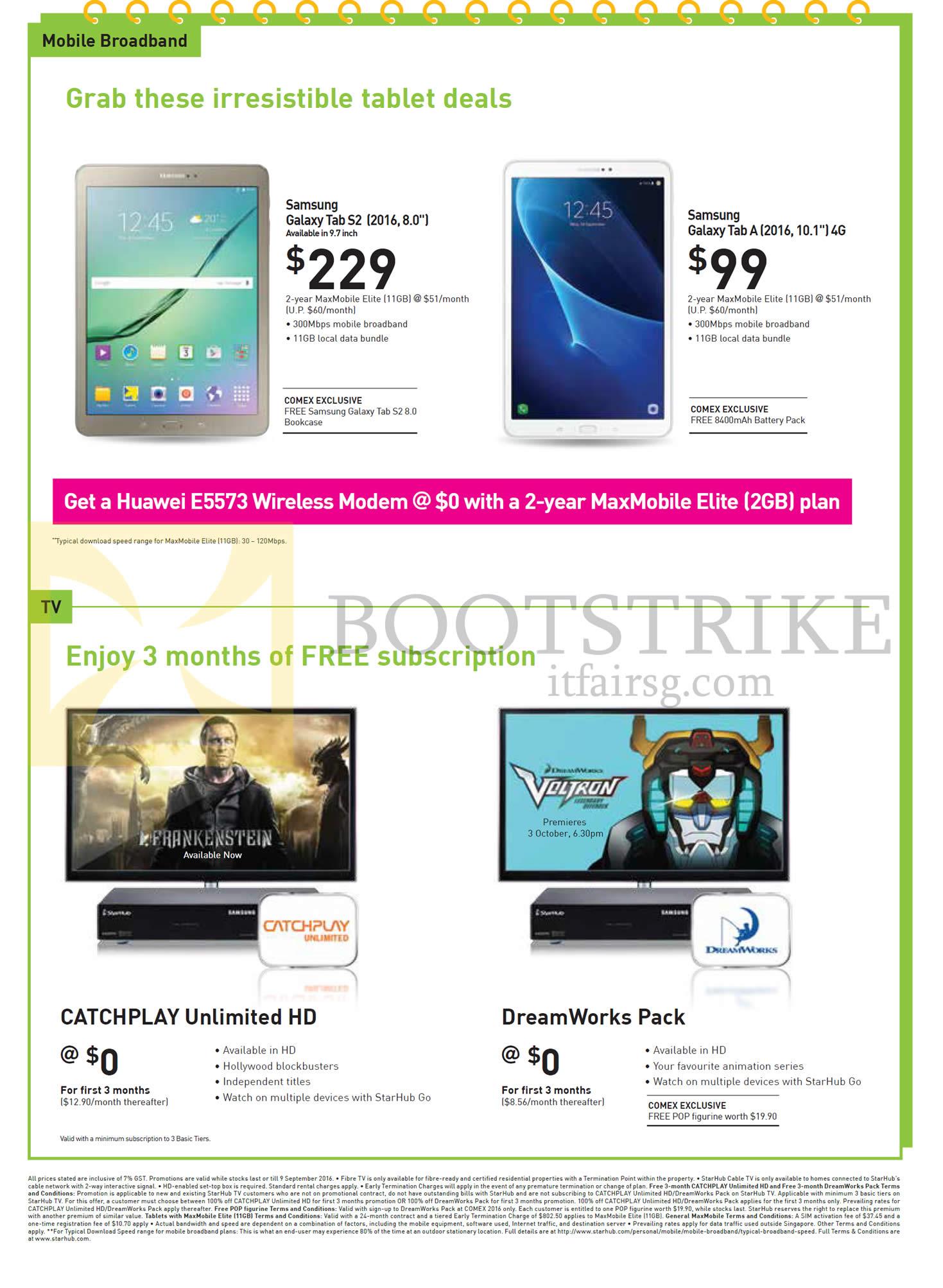 COMEX 2016 price list image brochure of StarHub Mobile Broadband, TVs, Samsung Galaxy Tab S2 2016 8.0, Tab A 2016 10.1, Catchplay Unlimited HD, DreamWorks Pack