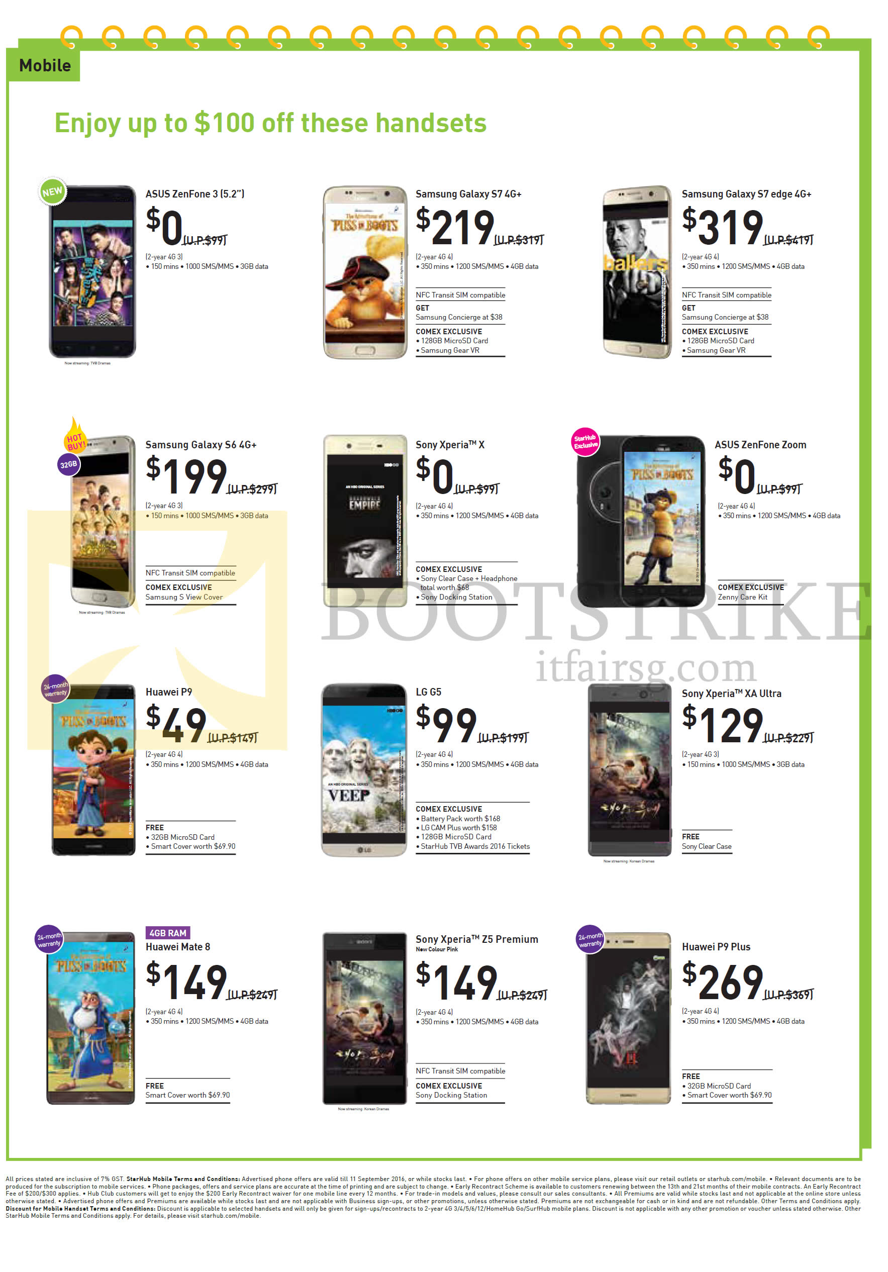 COMEX 2016 price list image brochure of StarHub Mobile Plans Asus Zenfone 3 5.2, Zoom, Samsung Galaxy S7, S7 Edge, S6, Sony Xperia X, XA Ultra, Z5 Premium, LG G5, Huawei P9, Mate 8, P9 Plus