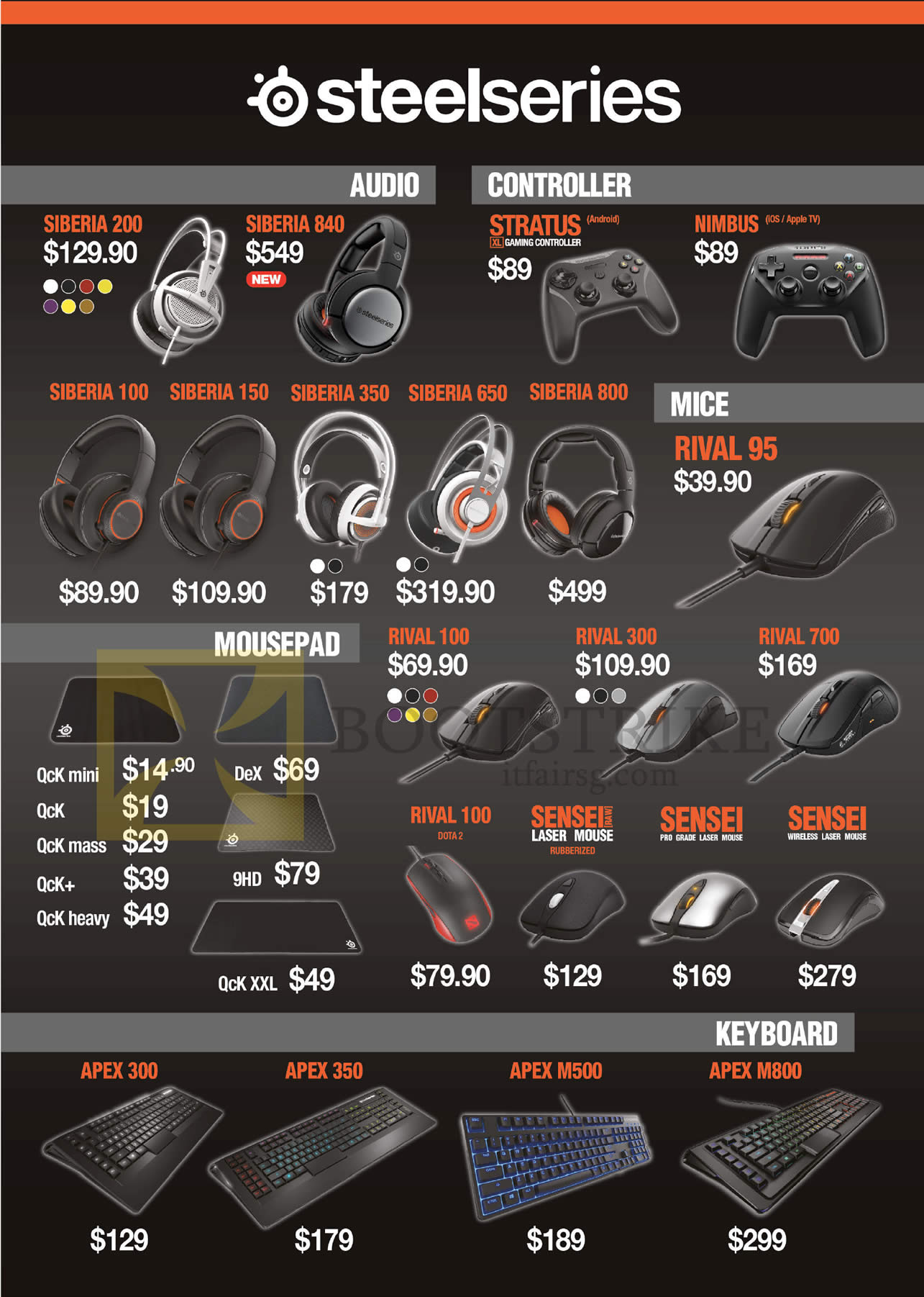 COMEX 2016 price list image brochure of Steelseries Headphones, Mousepads, Mouse, Keyboards, Siberia 200, 840, 100, 150, 350, 650, 800, Stratus, Nimbus, Rival 95, 100, 300, 700, Apex 300, 350, M500, M800