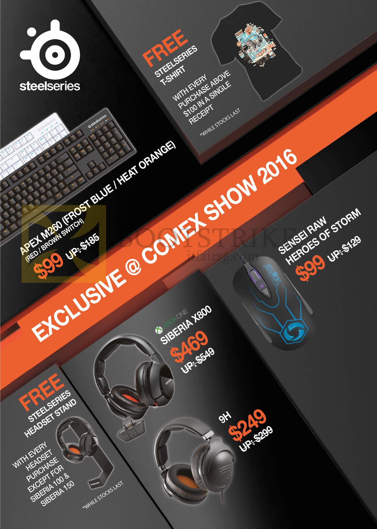 COMEX 2016 price list image brochure of Steelseries Headsets, Mouse, Siberai X800, 9H, Free Headset Stand, T-Shirt