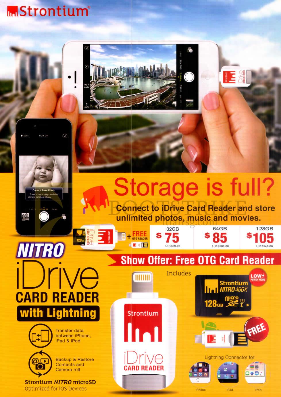 COMEX 2016 price list image brochure of Strontium IDrive Card Reader 32GB, 64GB, 128GB