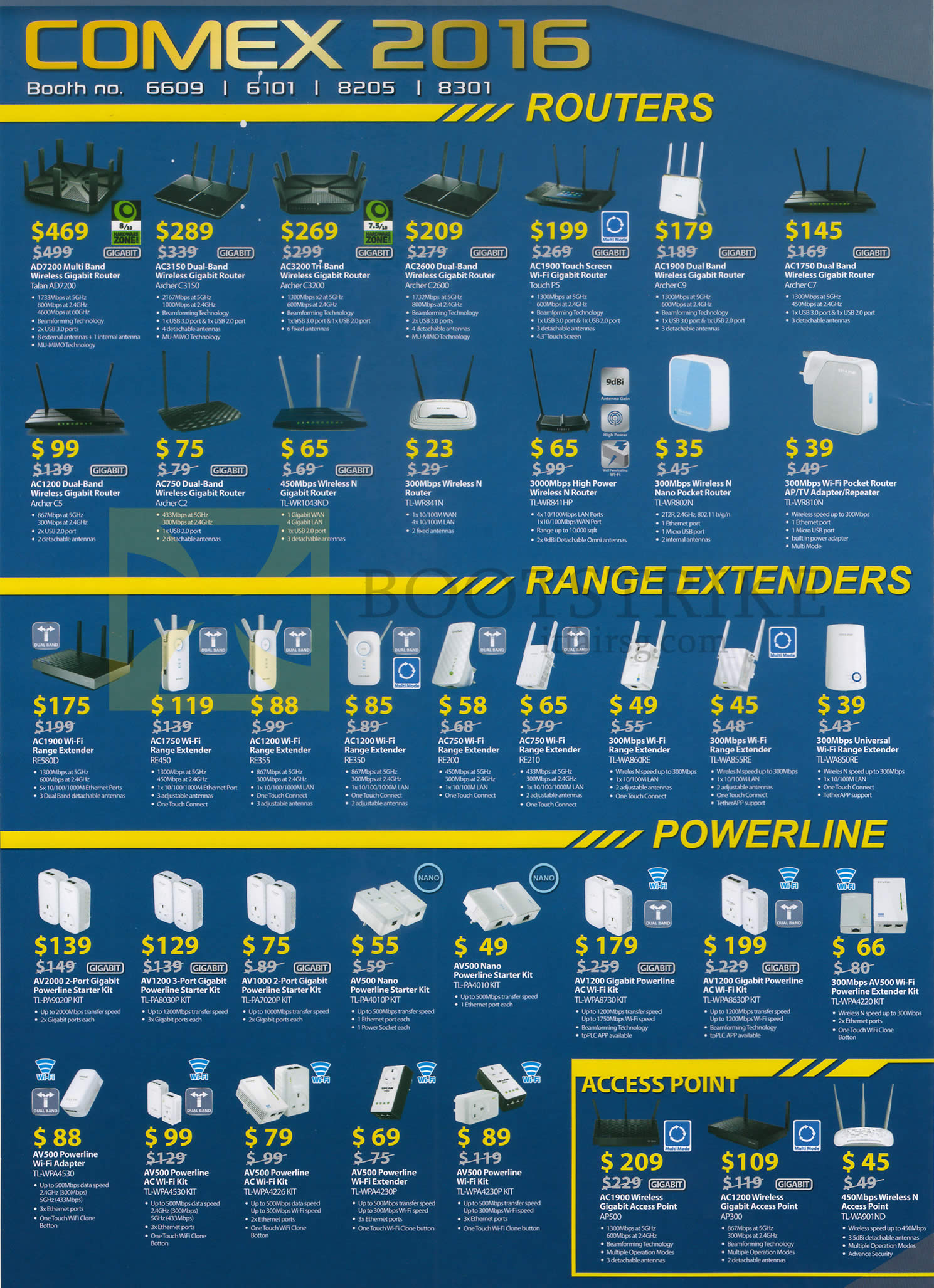COMEX 2016 price list image brochure of TP-Link Networking Wireless Routers, Range Extenders, Powerline, Access Points