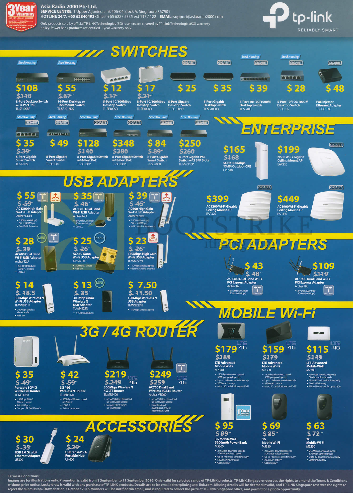 COMEX 2016 price list image brochure of TP-Link Networking Wireless Switches, Enterprise, USB Adapters, PCI Adapters, Mobile Wi-Fi, 3G, 4G Routers, Accessories