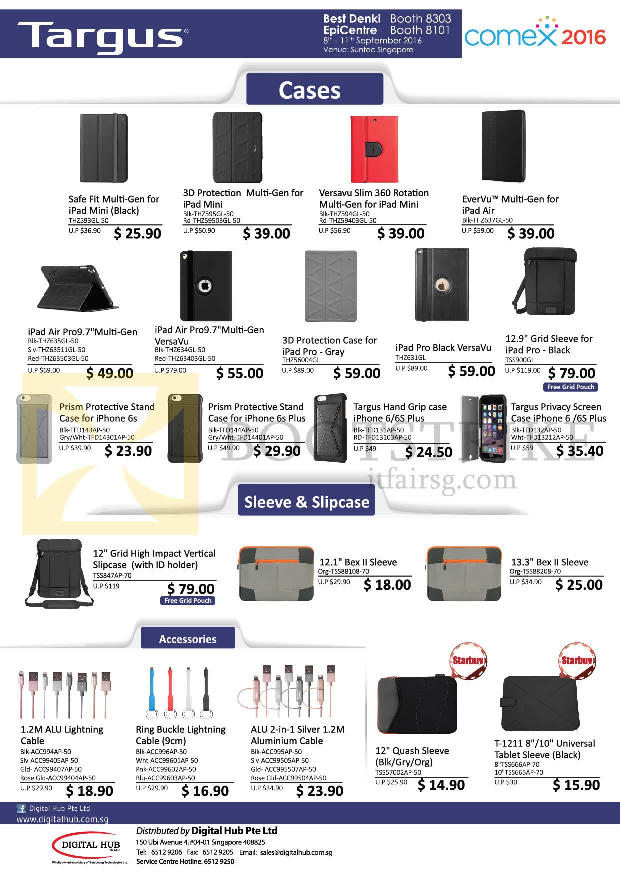 COMEX 2016 price list image brochure of Targus Digital Hub Cases, Sleeve, Slipcase, Accessories, Safe Fit, 3D Protection, Versavu Slim 360, Evervu, Air Pro9 7.0, Bex II Sleeve, ALU Lightning Cable, Quash Sleeve