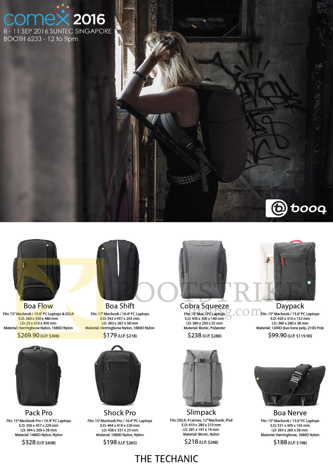 COMEX 2016 price list image brochure of The Techanic Booq Bags Backpacks Boa Flow, Shift, Cobra Squeeze, Daypack, Pack Pro, Shock Pro, Slimpack, Boa Nerve