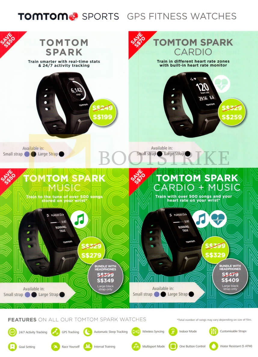 COMEX 2016 price list image brochure of Tomtom GPS Fitness Watches Spark, Spark Cardio, Spark Music, Cardio Plus Music