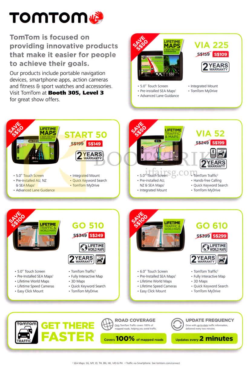 COMEX 2016 price list image brochure of Tomtom GPS Navigators Start 50, GO 510, VIA 225, 52, GO 610