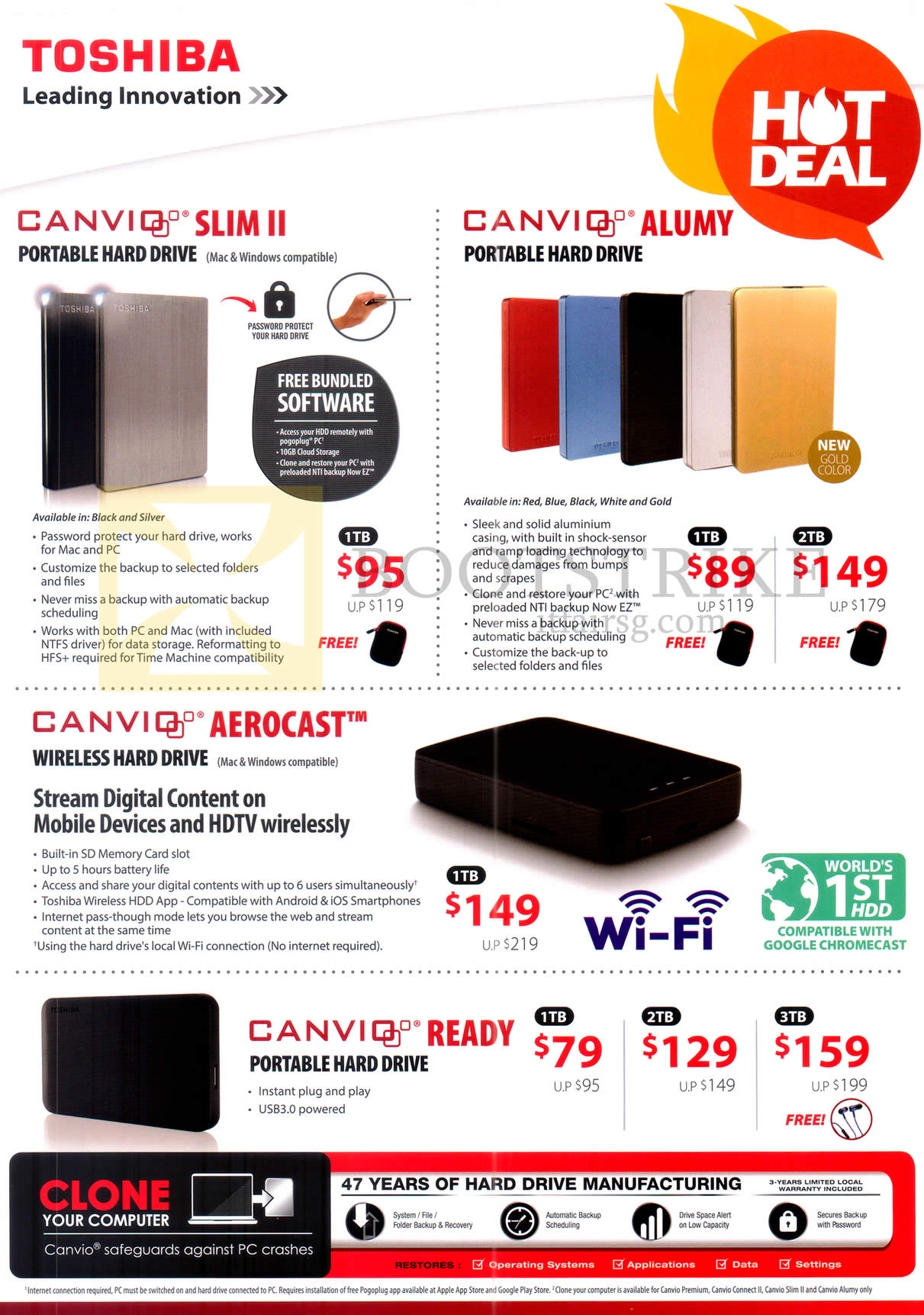 COMEX 2016 price list image brochure of Toshiba External Storage Canvio Slim II, Alumy, Aerocast, Ready, 1TB 2TB 3TB