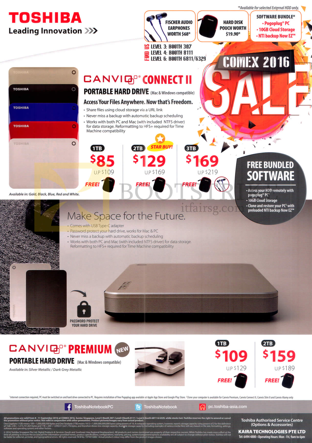 COMEX 2016 price list image brochure of Toshiba External Storage Drive Canvio Connect II, Premium, 1TB 2TB 3TB