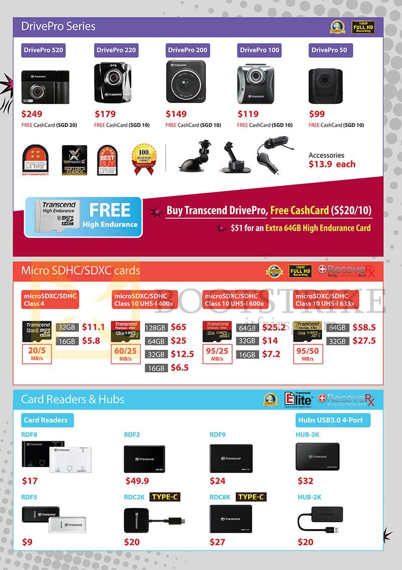 COMEX 2016 price list image brochure of Transcend DrivePro Series, MicroSDHC, SDXC Cards, Card Readers, Hubs, DrivePro 520, 220, 200, 100, 50, RDF8, 2, 9, 5, RDC2K, 8K, HUB-3K, 2K