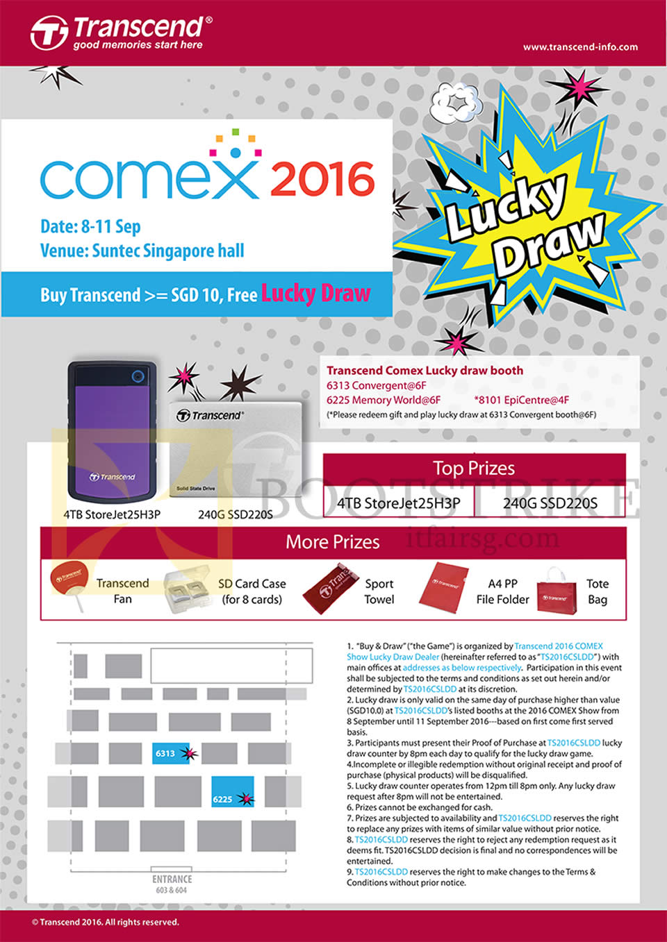 COMEX 2016 price list image brochure of Transcend Lucky Draw Prizes Terms And Conditions