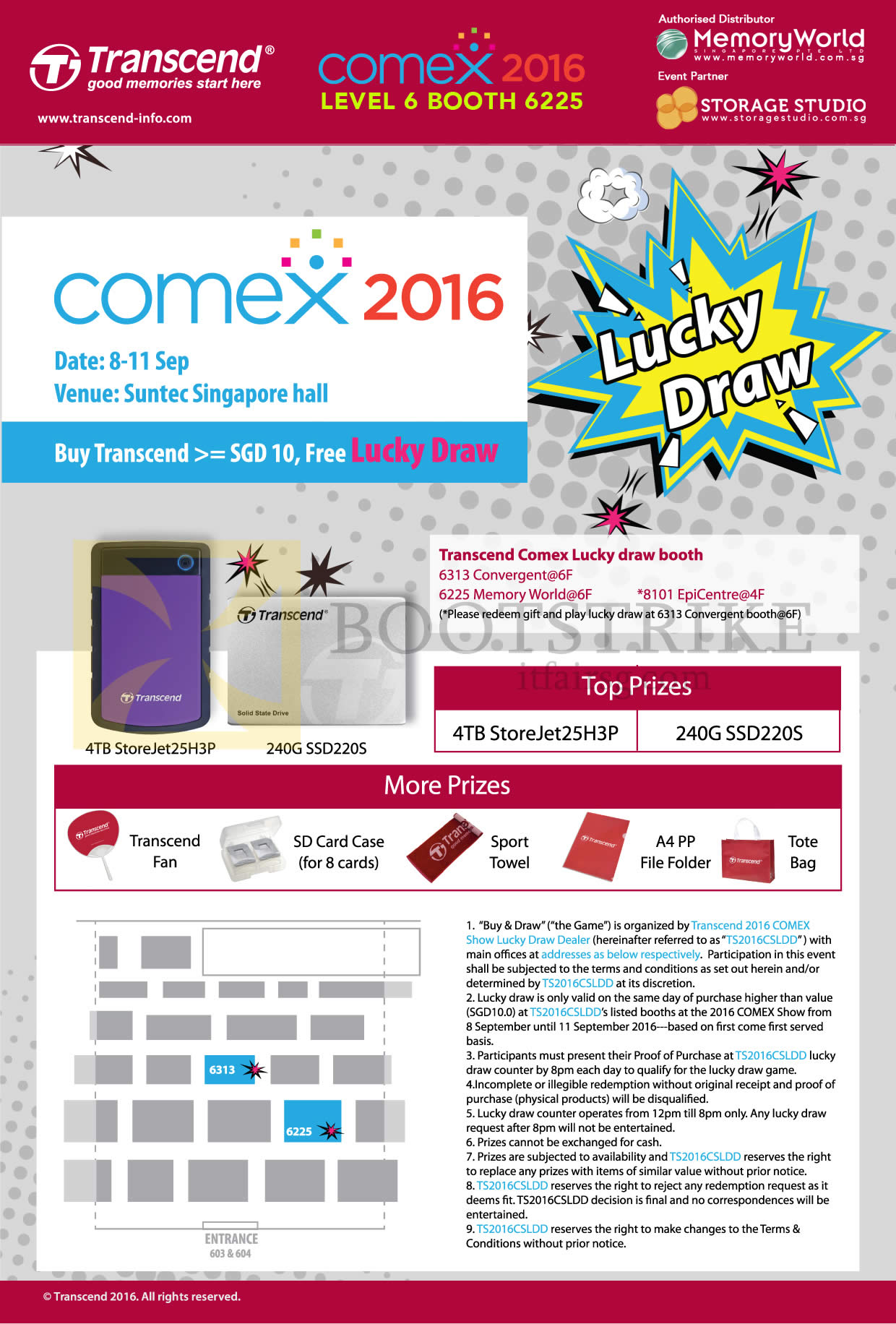 COMEX 2016 price list image brochure of Transcend Lucky Draw, Prizes
