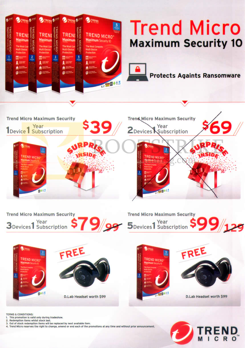 COMEX 2016 price list image brochure of Trend Micro Maximum Security Software 1 Device, 3 Devices, 5 Devices, 1 Year Subscription