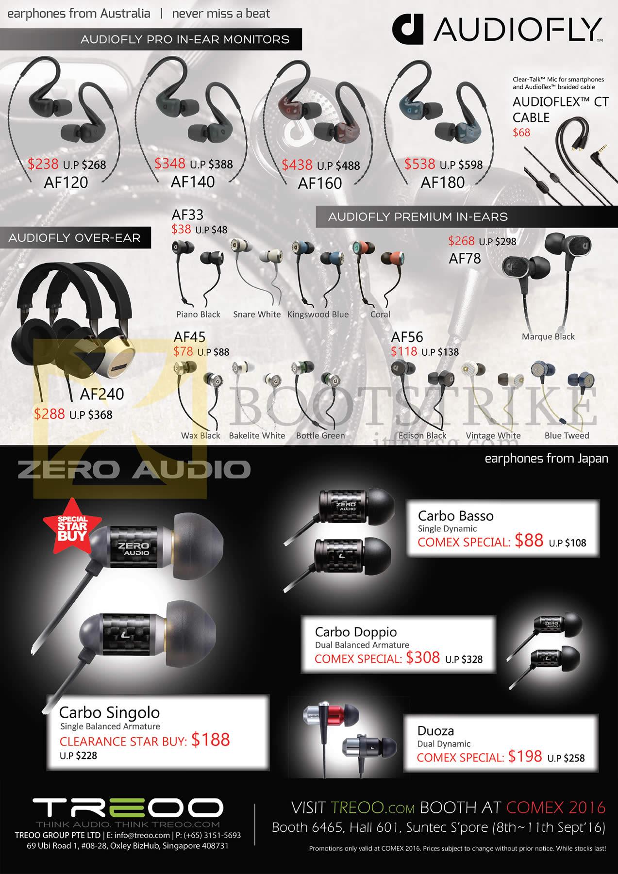 COMEX 2016 price list image brochure of Treoo Audiofly Earphones AF120, AF140, AF160, AF180, AF33, AF78, AF56, AF45, AF240, Zero Audio, Carbo Basso, Singolo, Doppio, Duoza