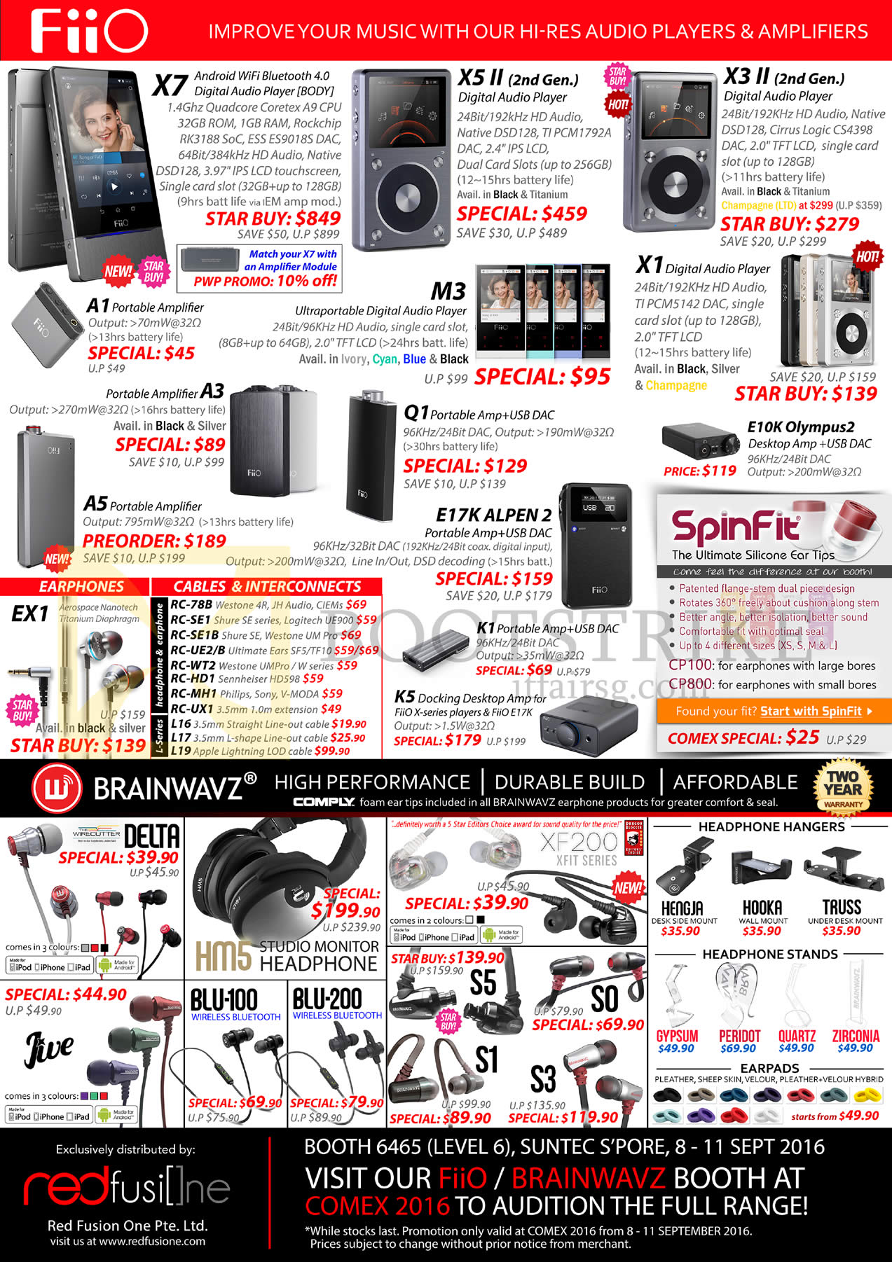 COMEX 2016 price list image brochure of Treoo Fiio Audio Player, Amplifier, Headphones, Earphones, Headphone Hangers, X7, X5 II, X3 II, A1, M3, X1, A5, E17K Alpen 2, K1, EX1, Delta, Blu-100, 200, S1, S3